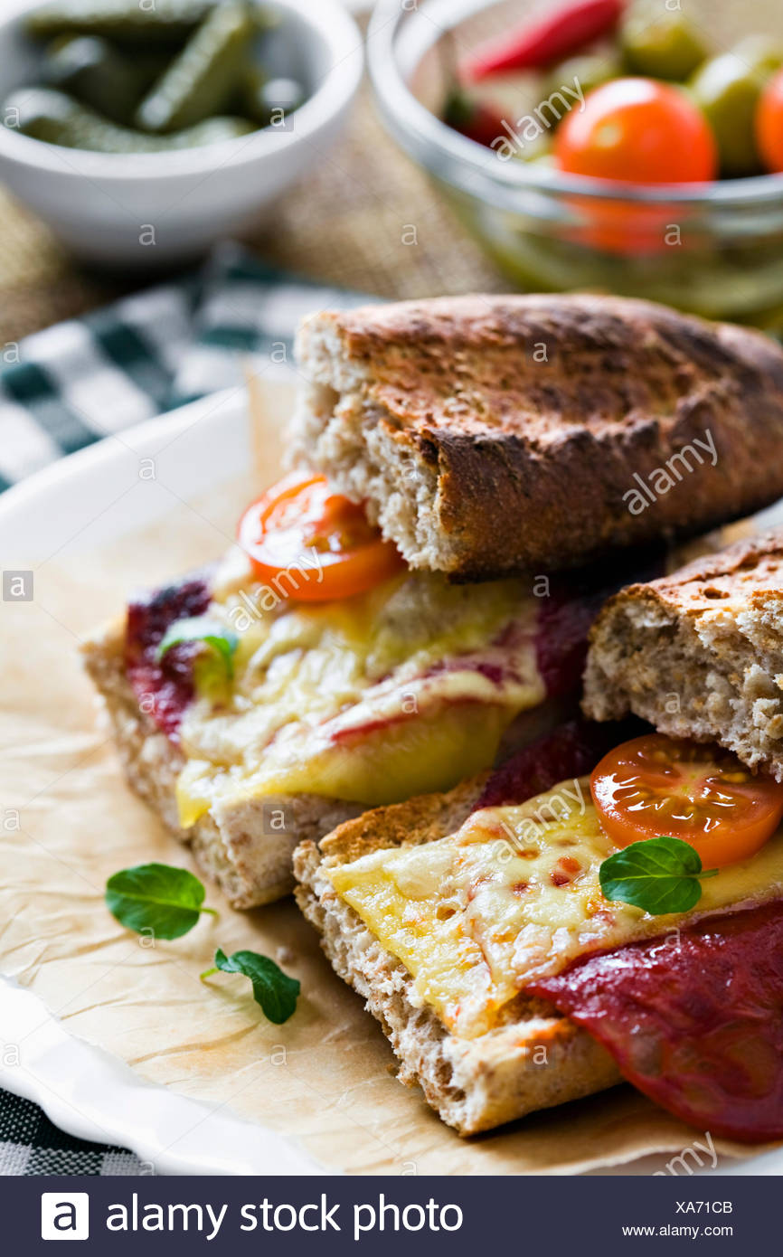 Cheese and chorizo sandwich - Stock Image