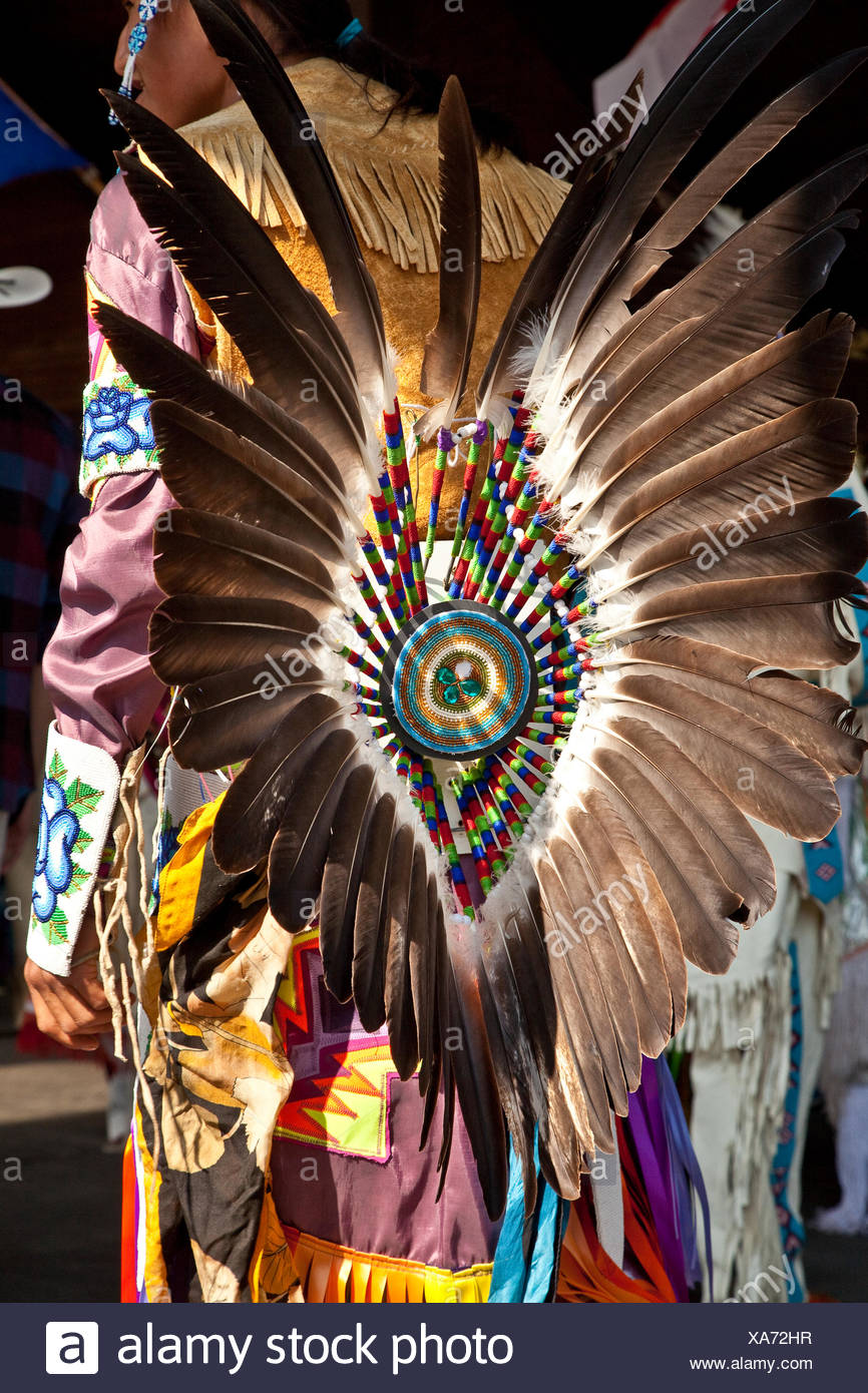 Traditional First Nations Dance costume, 2015 Calgary Stampede, Calgary, Alberta, Canada. - Stock Image