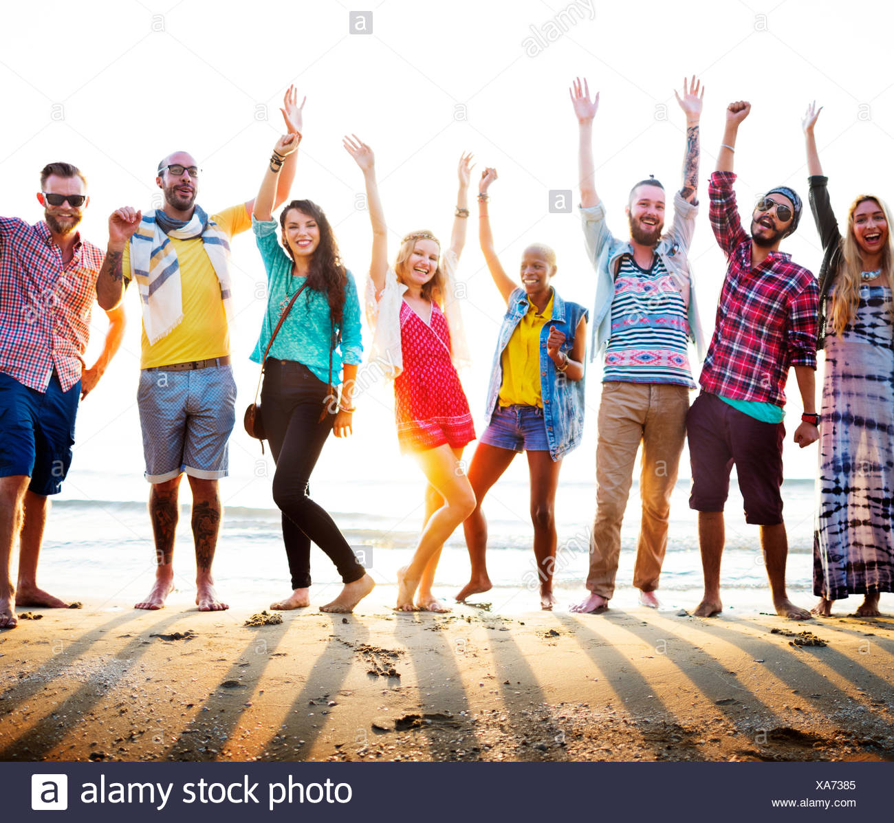 Teenagers Friends Beach Party Happiness Concept Stock Photo