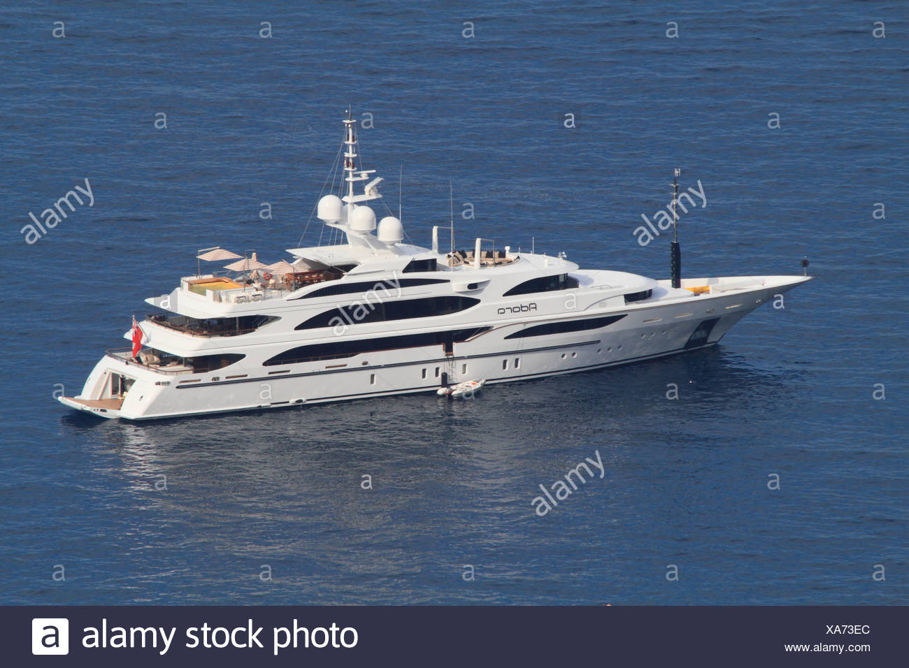 Motor yacht, Adora, built by Benetti, overall length, 61.5 metres, built in 2010, on the Cote d'Azur, France, Mediterranean - Stock Image