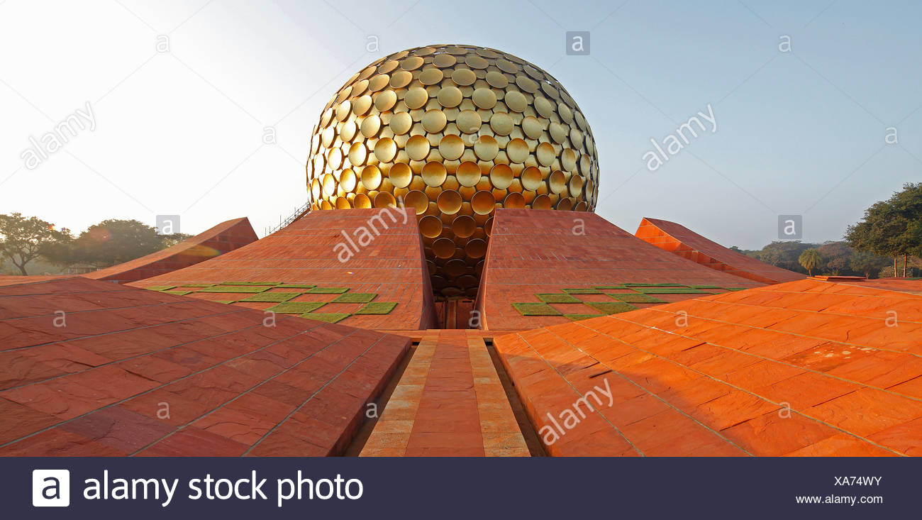 Sunrise at Matrimandir, temple, mystical place, meditation place, largest sanctuary in Auroville, Sri Aurobindo Ashram - Stock Image