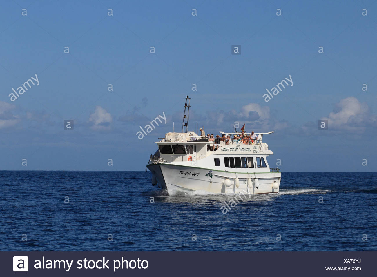 Canary islands, Gran Canaria, the Atlantic, ship, dolphin watching, tourists, - Stock Image