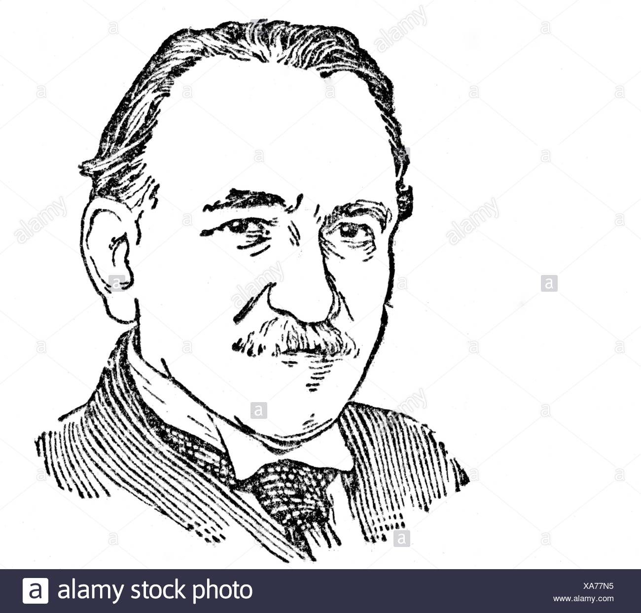 Foerster, Josef Bohuslav, 30.12.1859 - 29.5.1951, Czech composer, portrait, line drawing, , Additional-Rights-Clearances-NA - Stock Image