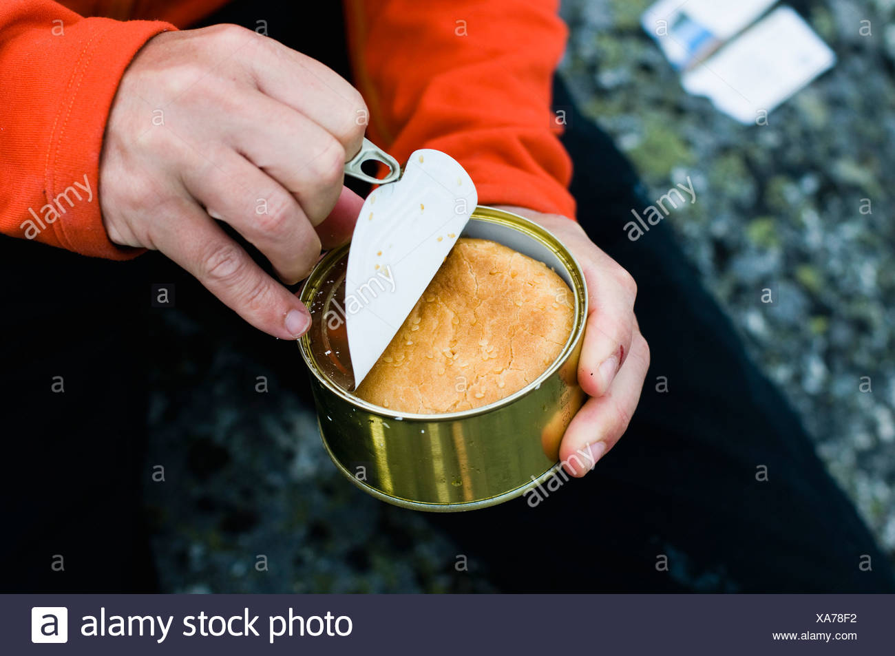 Opened tin - Stock Image