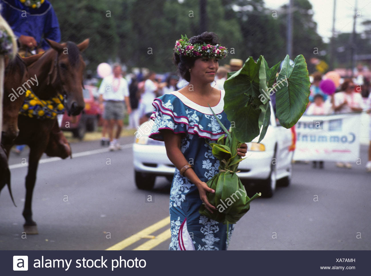 Woman carries culturally significant kalo (taro) plant during parade as part of Aloha Week Festivals, Big Island - Stock Image