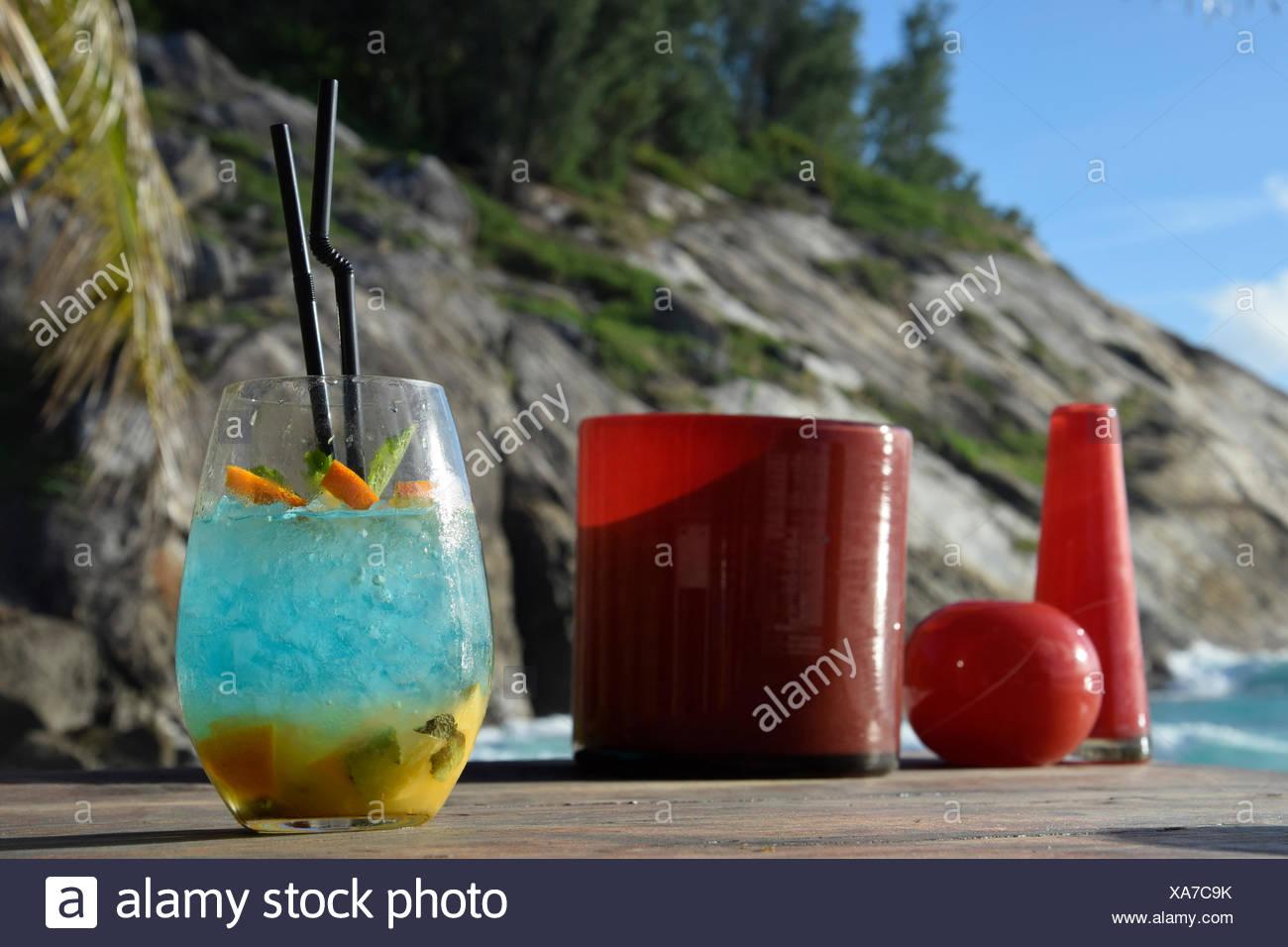 Cocktails, North Island, Seychelles, Africa, beach bar, - Stock Image
