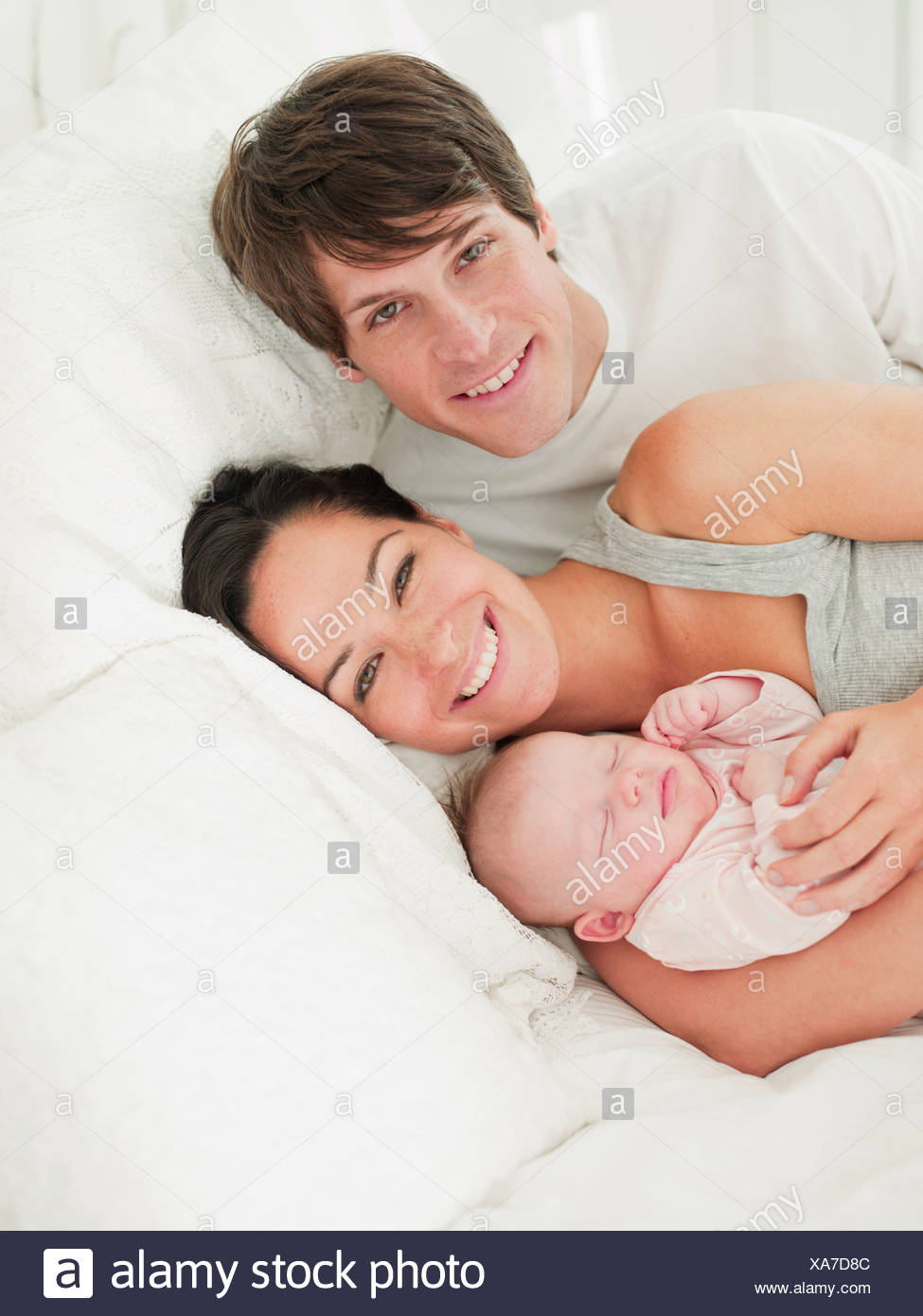 Baby Sleep Parents Bedroom: Father Asleep In Bed Stock Photos & Father Asleep In Bed