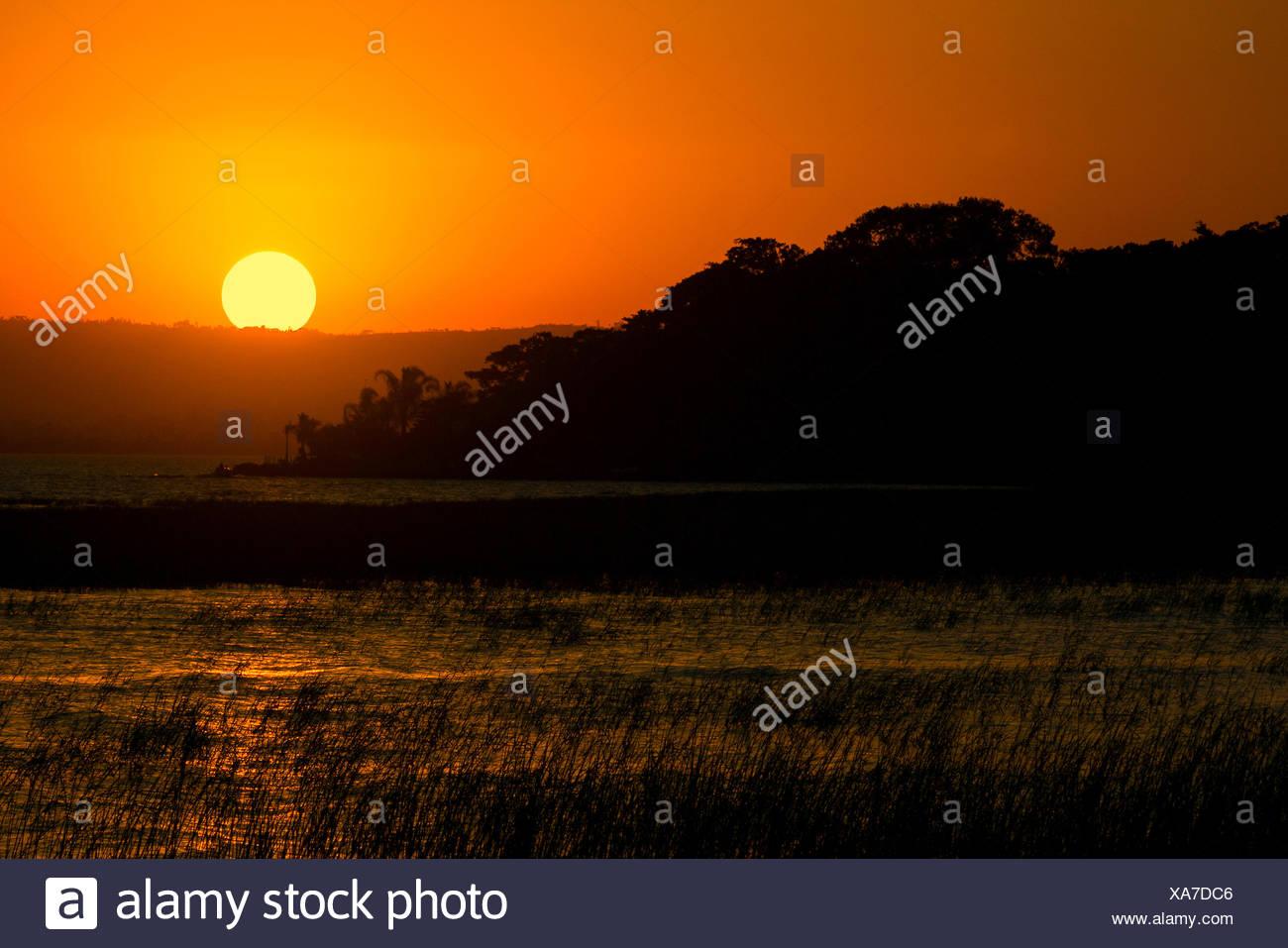sunset lake Awasa - Stock Image