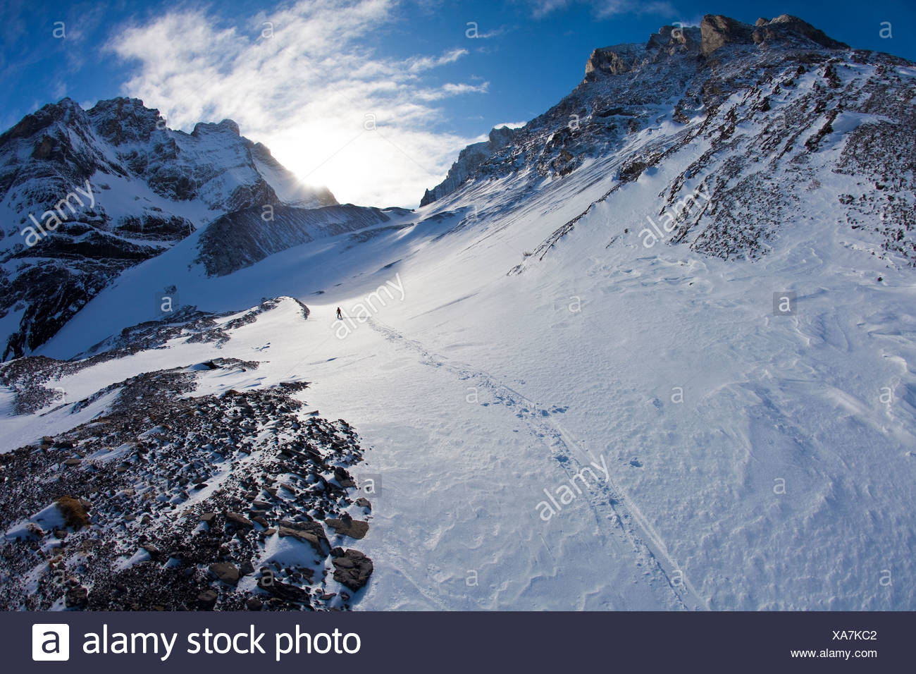 A man ski tours along the French/Haig Robertson Traverse, Peter Lougheed Provinicial Park, Kananaskis, Alberta, Canada - Stock Image