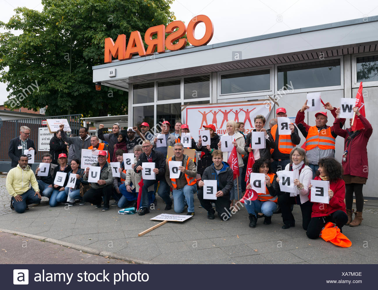Berlin, Germany, Osram Pursuing protest against the planned reduction of 283 positions - Stock Image