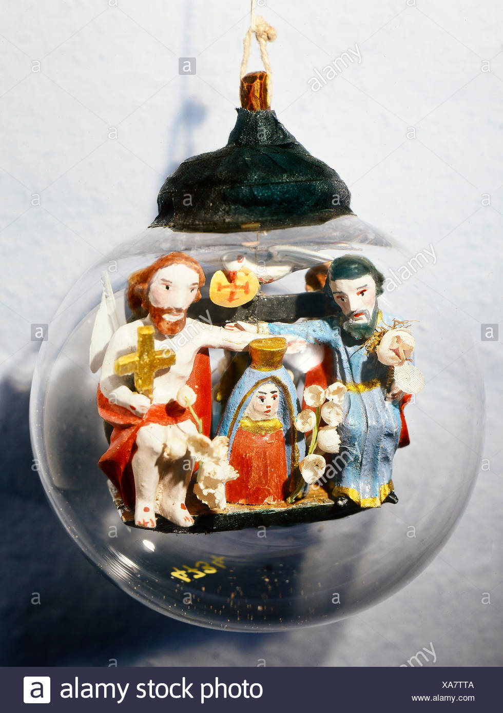 fine arts, folk art, impossible bottle with Coronation of the Virgin, glass, Southern Germany, 19th century, Werdenfels museum, Garmisch-Partenkirchen, Artist's Copyright has not to be cleared - Stock Image