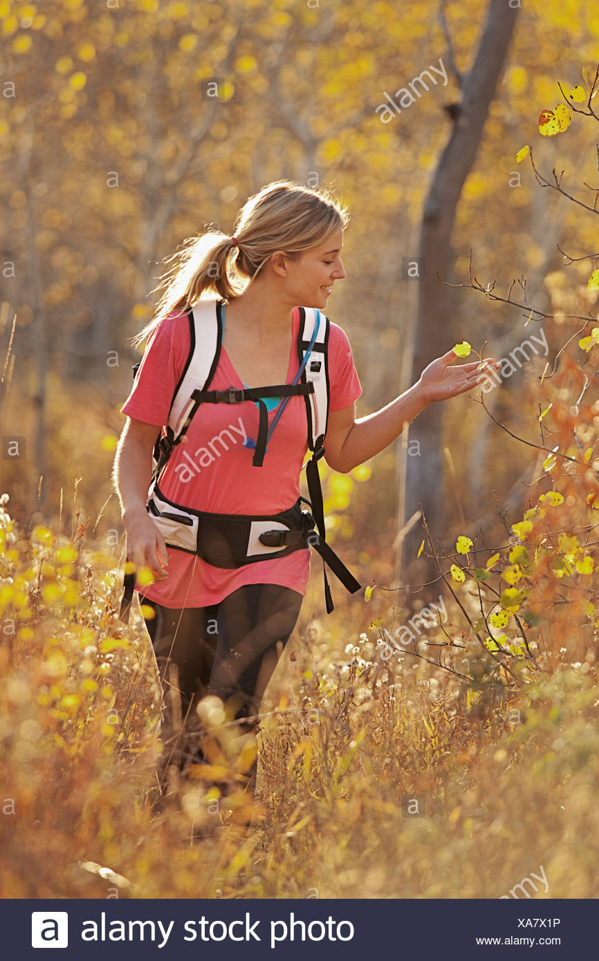 USA, Utah, young woman hiking in forest - Stock Image
