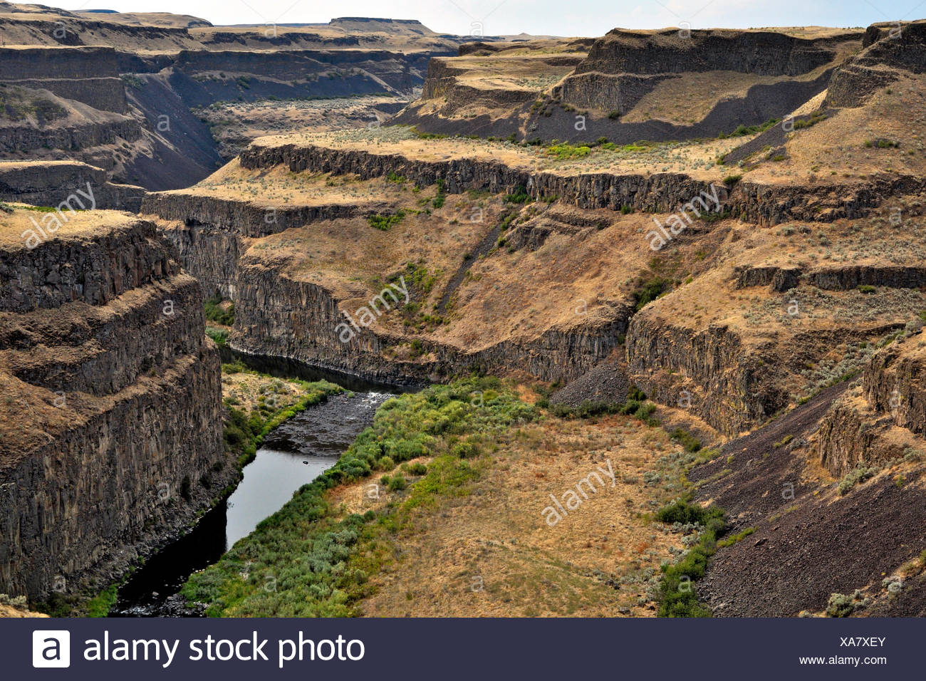 Basalt organs of traps tray Columbia - Washington USA In the late Miocene and early Pleistocene one of the largest outpourings of lava ever known Earth happened. 160 000 km2 of the surface of the Pacific Northwest were drowned to give birth to a large ign - Stock Image