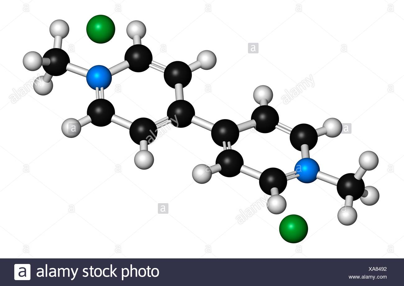 Paraquat herbicide molecule 3D rendering. Atoms are represented as spheres with conventional colour coding: hydrogen (white), carbon (black), nitrogen (blue). Illustration. - Stock Image