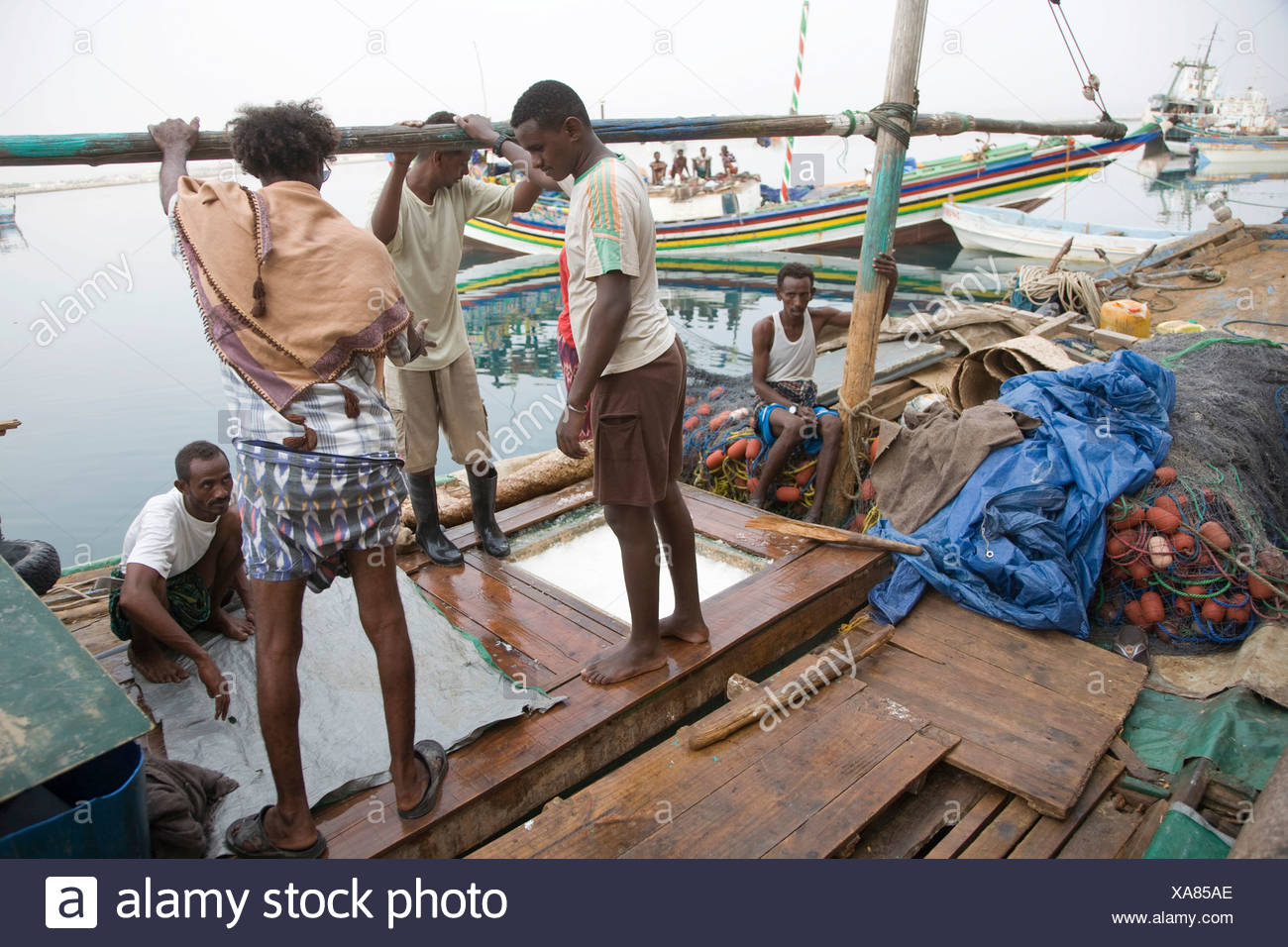 Workmen loading ice onto a boat in the fishing harbour, Massawa, Red Sea, Eritrea, Horn of Africa, East Africa - Stock Image