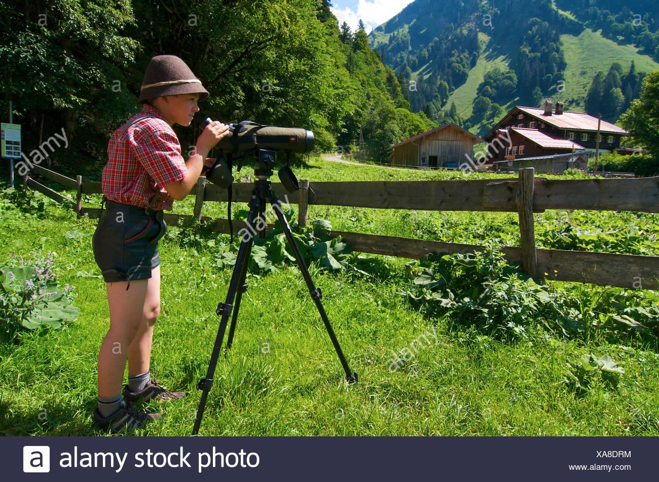 Eagle observatory at Giebelhaus in Hinterstein Valley, Bad Hindelang, Allgaeu, Bavaria, Germany, Europe - Stock Image