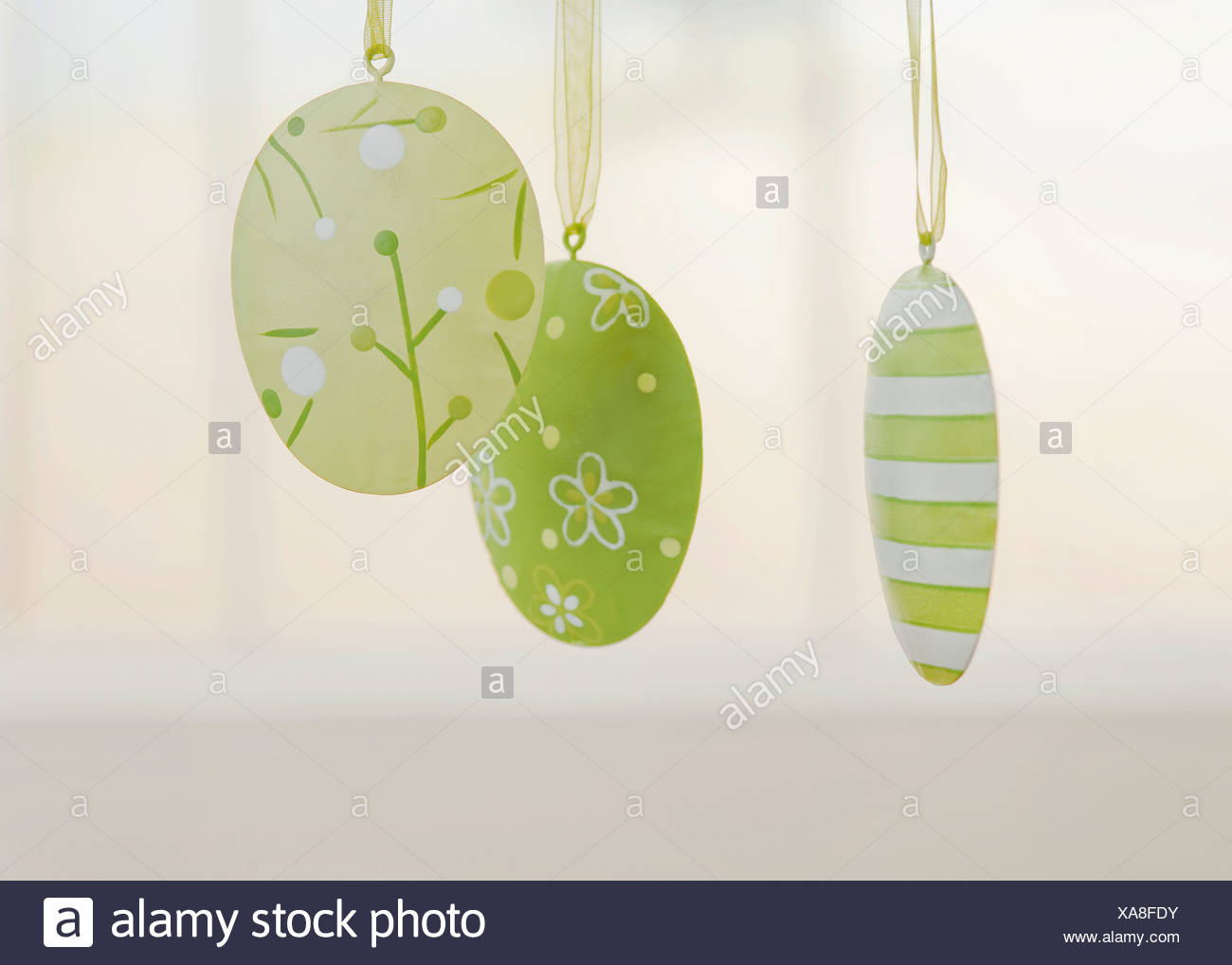 Easter eggs from flat sheet of loops, close-up - Stock Image