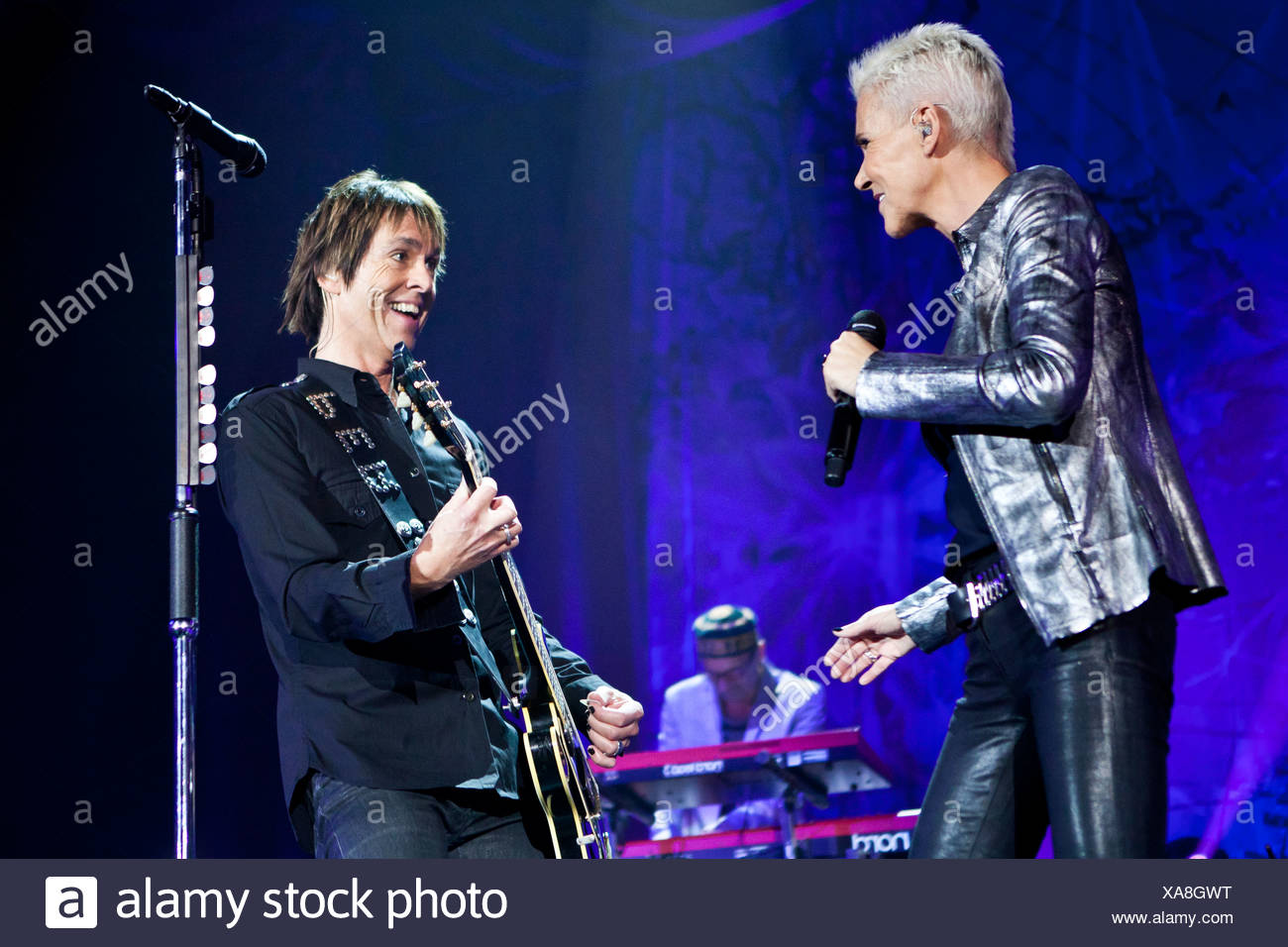 Swedish pop duo 'Roxette' with Marie Fredriksson and Per Gessle playing live at Hallenstadion in Zurich, Switzerland, Europe - Stock Image