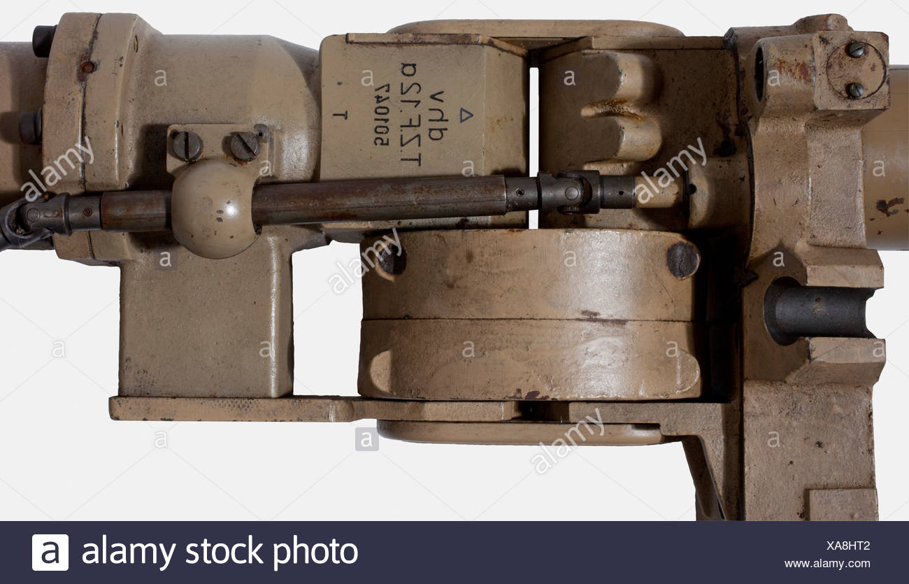 A turret telescope, for a Panzer V 'Panther' SdKfz 171 Sand-coloured lacquered housing, inscribed, 'dhv - T.Z.F. 12 a - 501047 T' with an exterior light/dark switch, selection lever for the various target areas for armour-piercing or high explosive shells and for setting the outer scale of the target area by means of an exterior drive shaft. The optics are, so far as they can be tested, in working condition. Length ca. 113 cm. Completeness cannot be assured. Comes with the transport case (damaged). Dimensions ca. 125 x 25 x 23 cm. Also the manufacturer's bill o, Additional-Rights-Clearances-NA - Stock Image