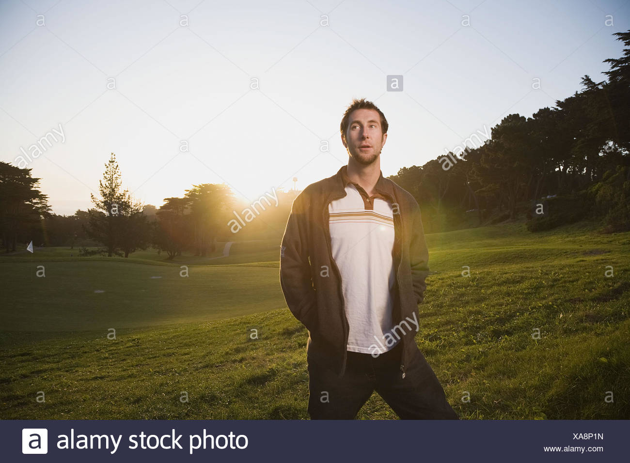 Young man at Lincoln Park, San Francisco, California, USA - Stock Image