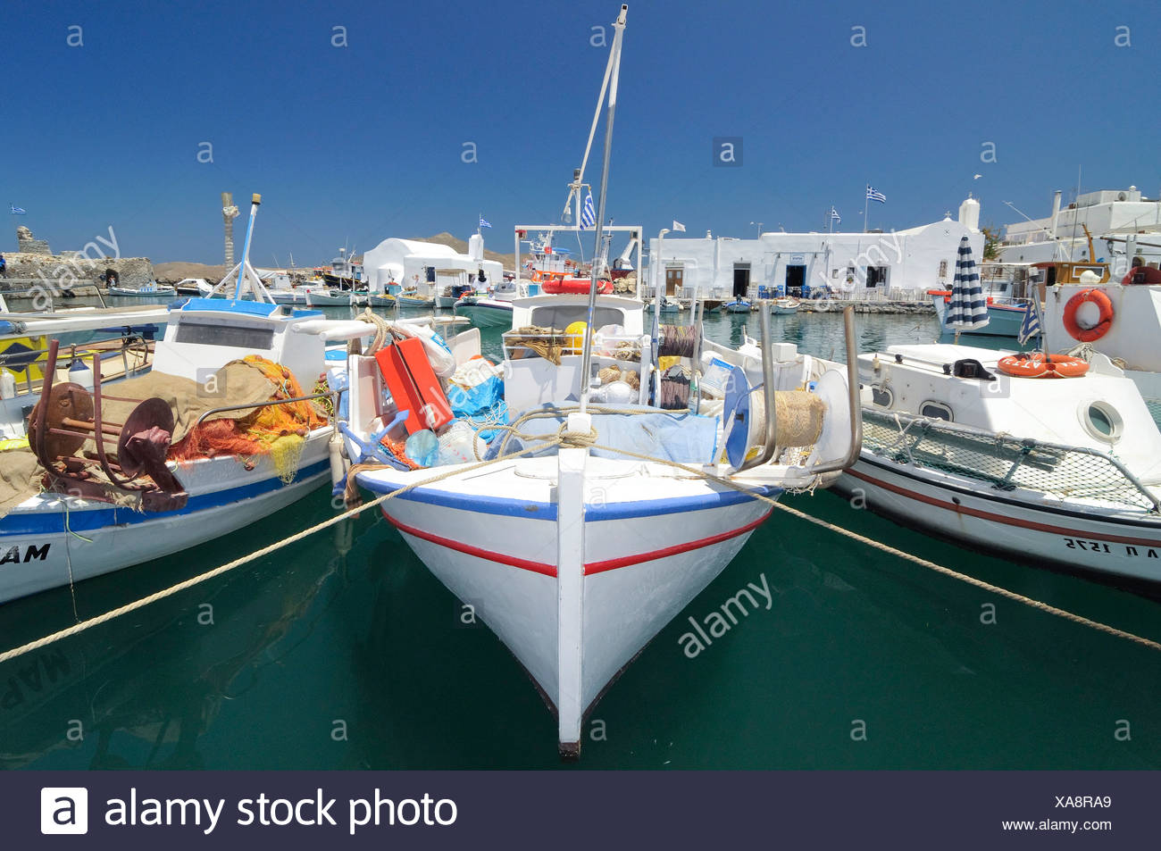Fishing boats in the port of Naoussa, Paros, Cyclades, Griechenland, Europa - Stock Image
