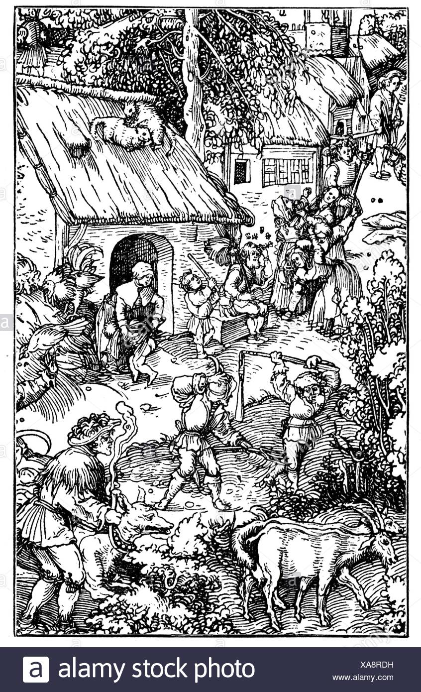 agriculture, country life, farm, woodcut by Hans Burgkmair, early 16th century, people, men, man, woman, women, peasants, peasant, farmer, farmers, herdsman, herder, herdsmen, herders, goats, goat, agricultural work, farm labour, farm labor, working, work, thresh, threshing, house, houses, cottage, cabin, cottages, cabins, animals, animal, chicken, chickens, cat, cats, dog, dogs, Germany, Holy Roman Empire, agriculture, farming, farm, farms, woodcut, woodcuts, historic, historical, female, male, Additional-Rights-Clearences-NA - Stock Image