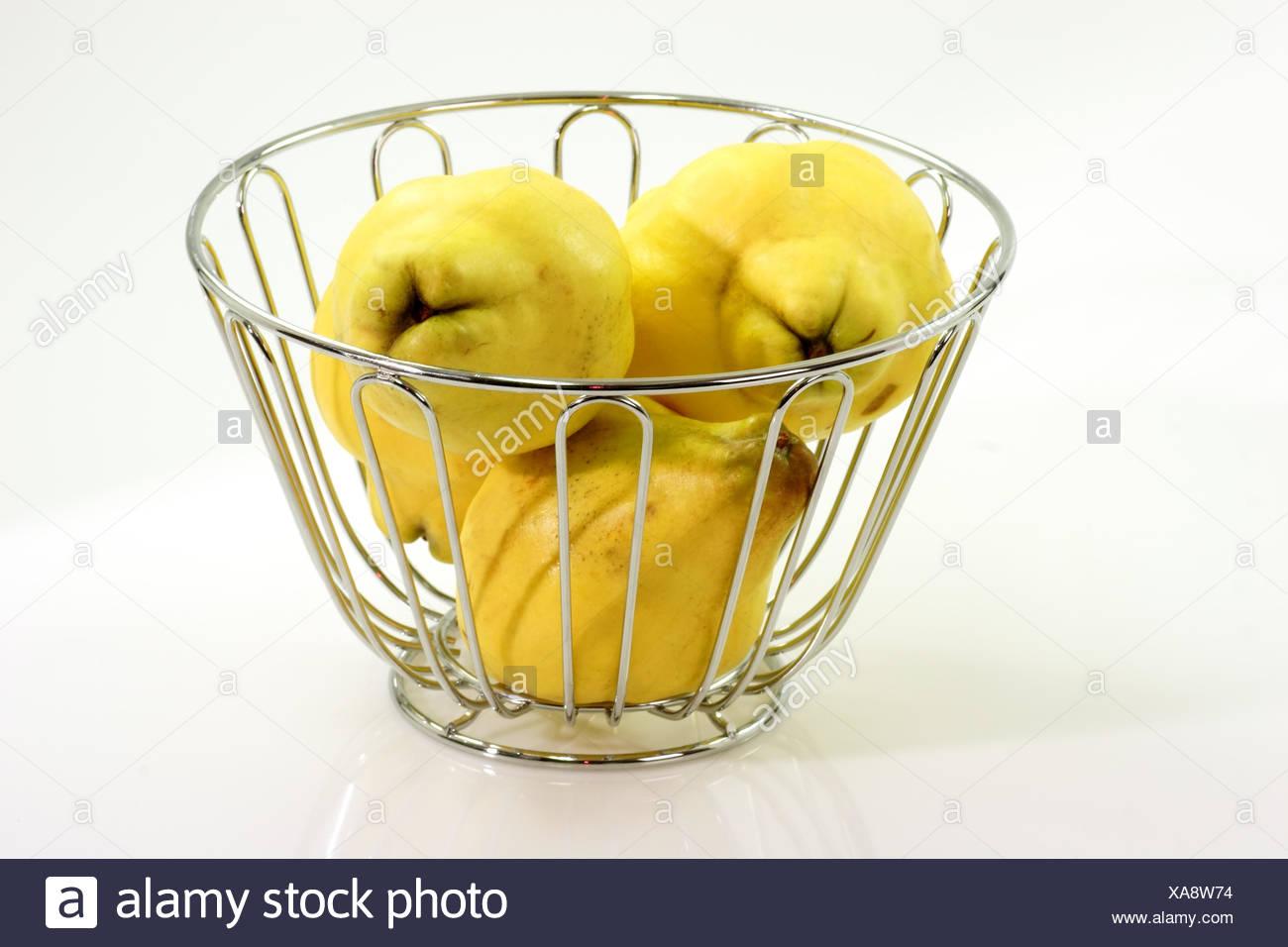 quince fruit basket Stock Photo