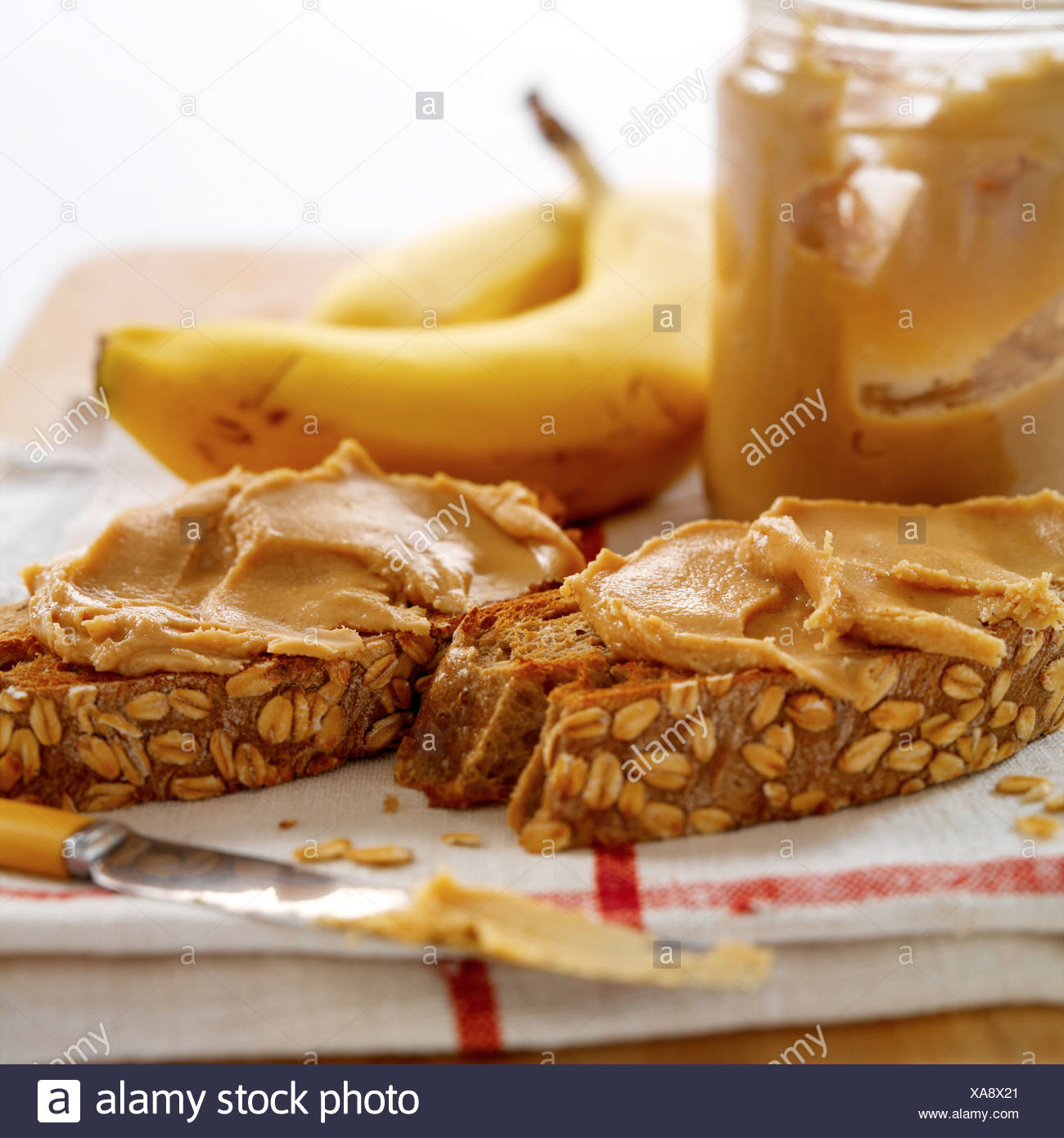 Peanut Butter On Toast - Stock Image