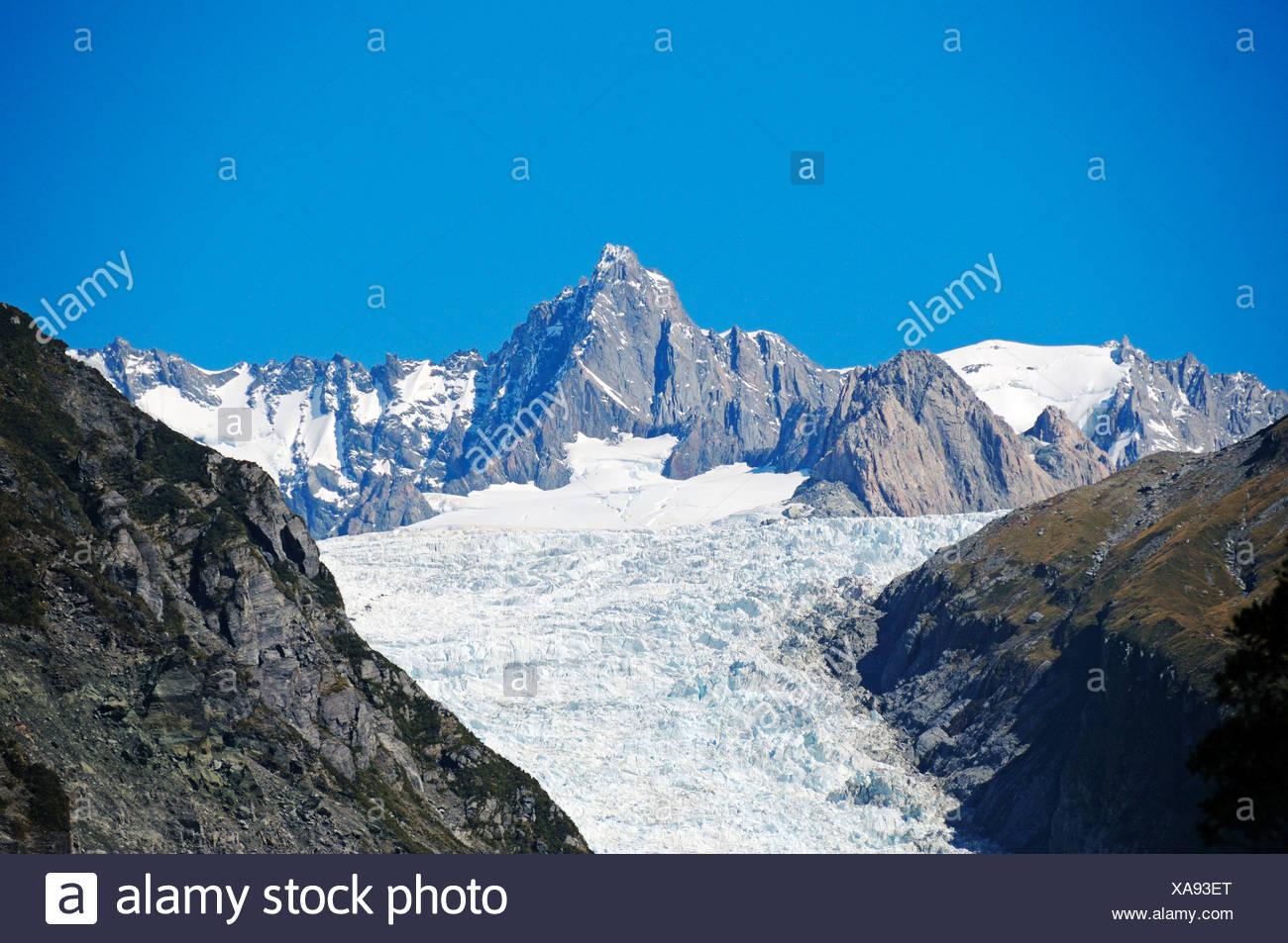 Fox Glacier, Te o Moeka o Tuawe, in Westland National Park, South Island of New Zealand - Stock Image