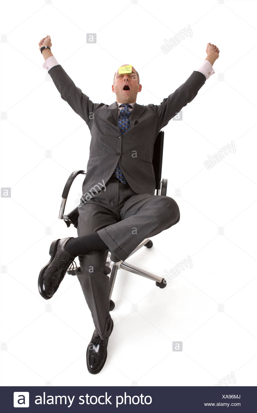 optional tired business man businessman chair suit aerial perspective slip - Stock Image