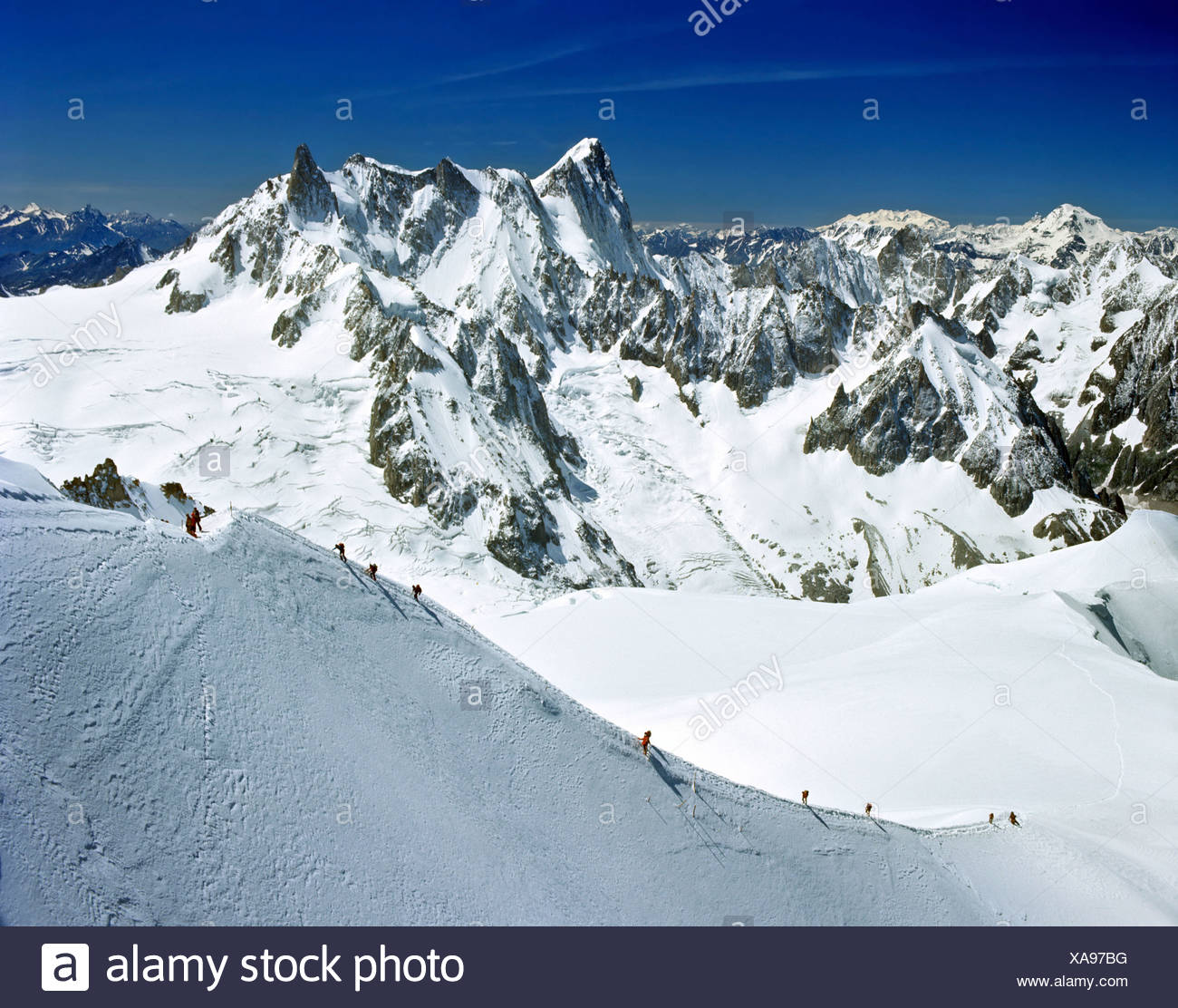 Descent from Mt. Aiguille du Midi to Vallee Blanche, Grandes Jorasses, Mont Blanc massif, Savoy Alps, France, Europe - Stock Image
