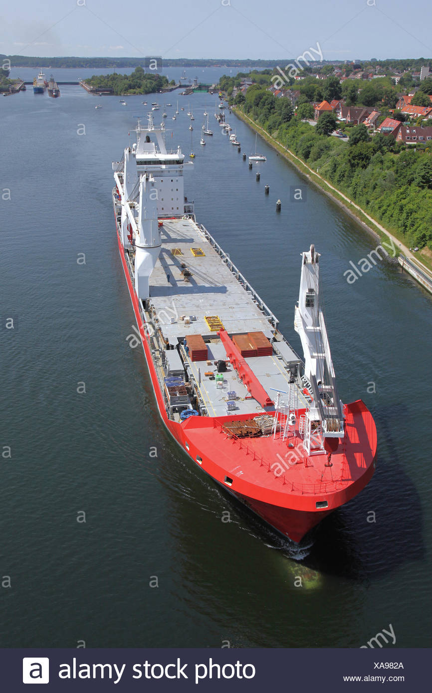 cargo ship bird's Stock Photo
