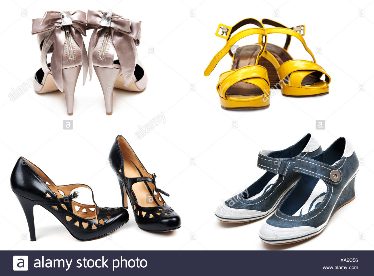 68ccc378db Collage from four pairs feminine loafers Stock Photo  281719570 - Alamy