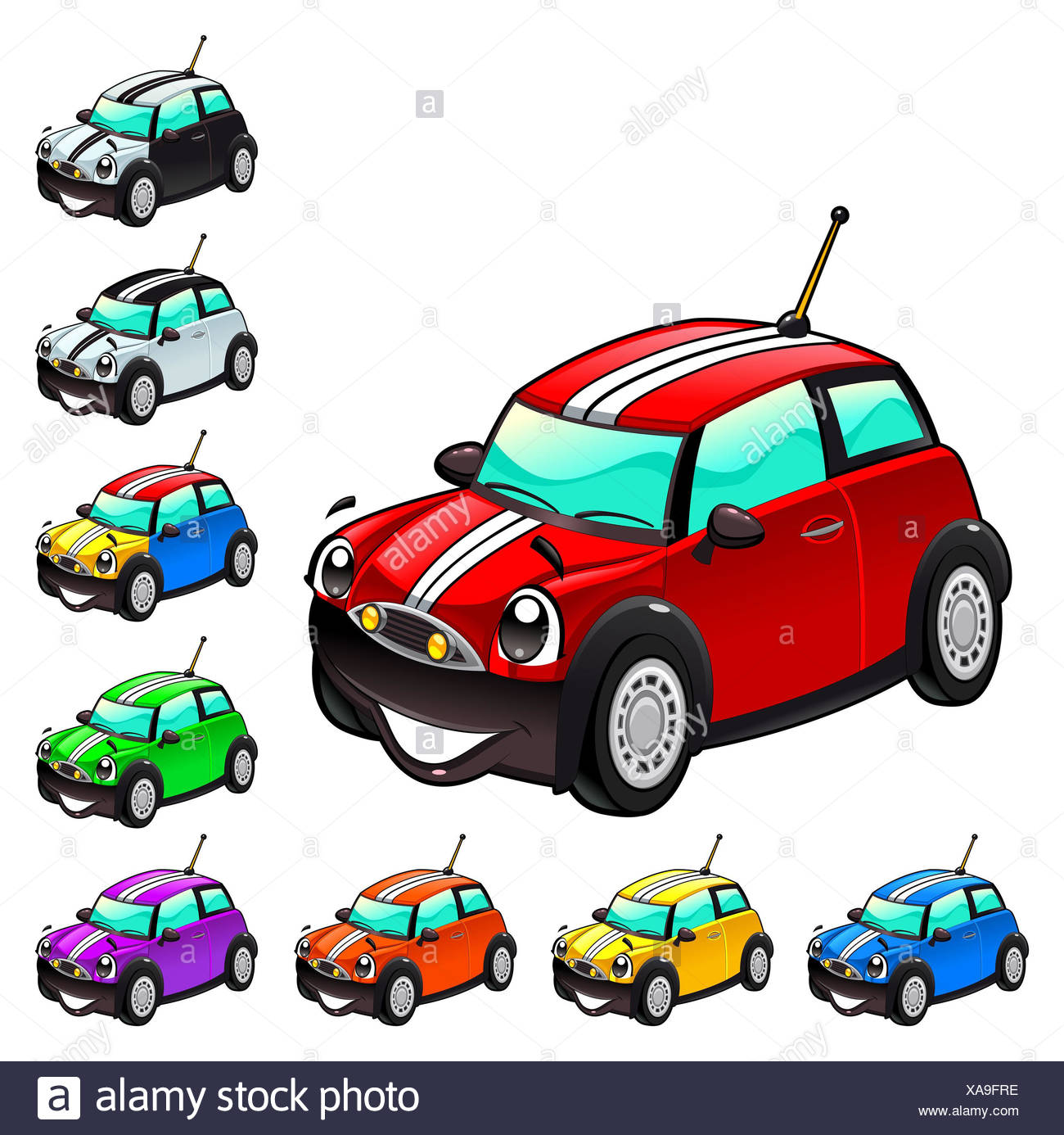 Funny Cars In Different Colors