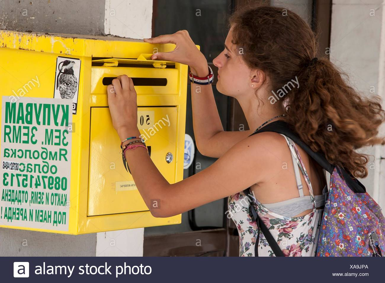 Girl send a postcard, Veliko Tarnovo, Bulgaria. Stock Photo