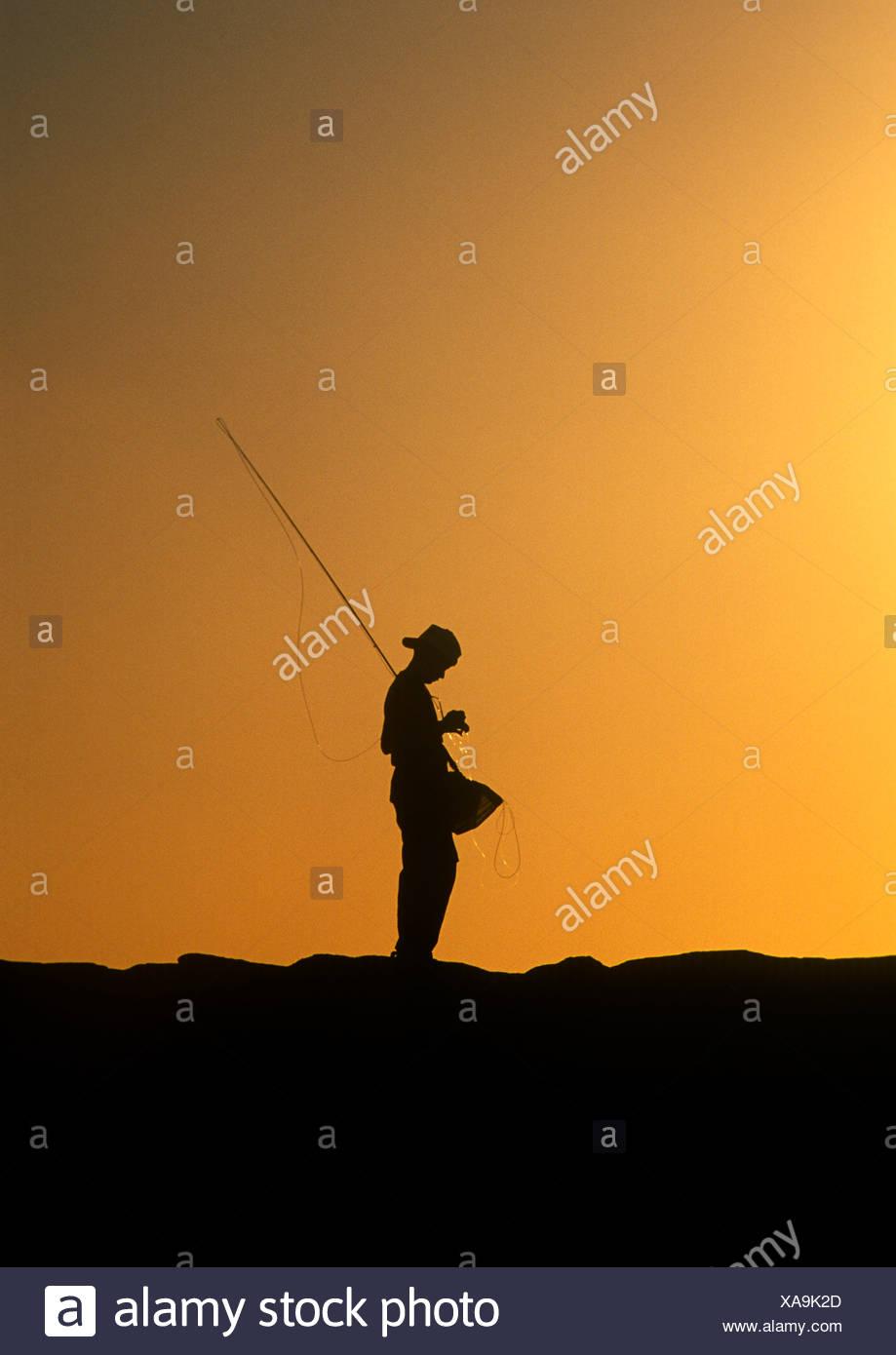 Boy fishing - Stock Image