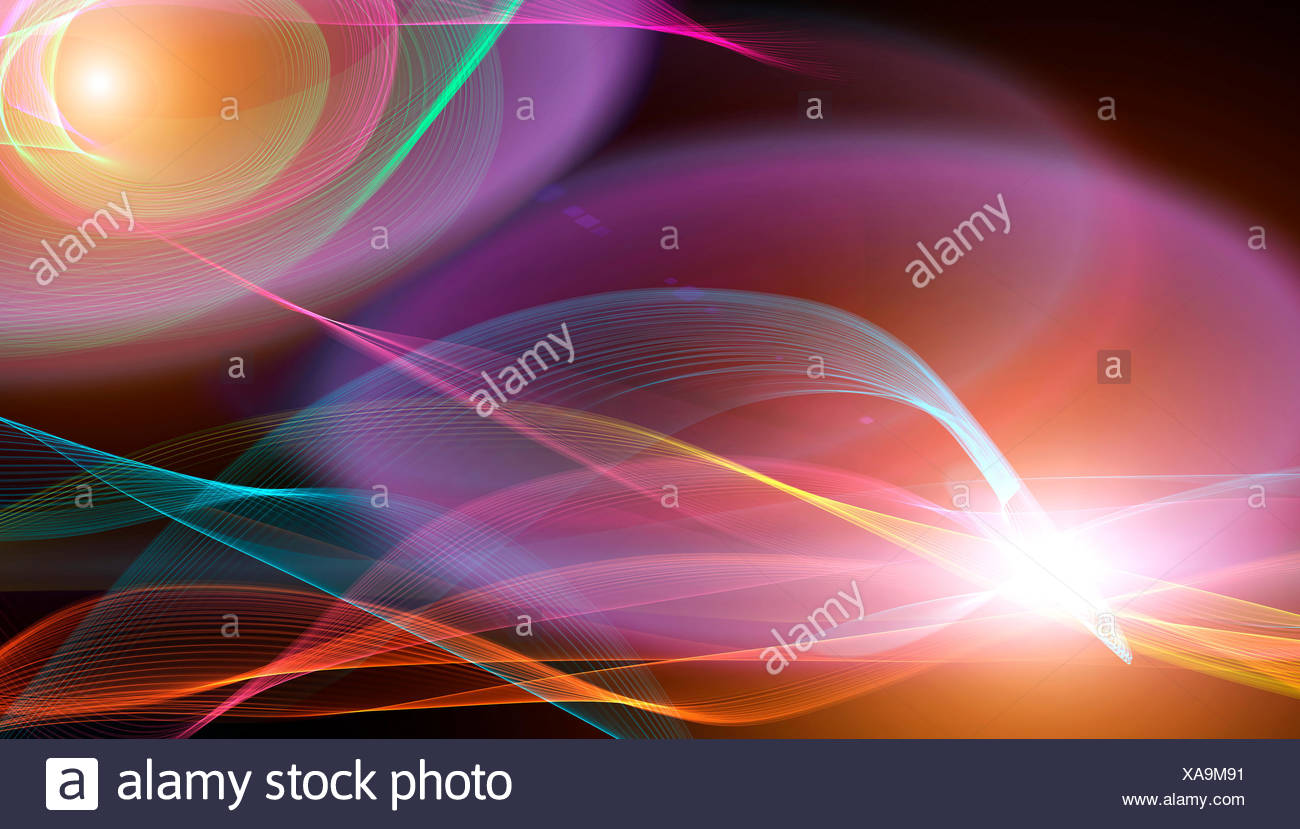Brightly coloured swirls, illustration. - Stock Image