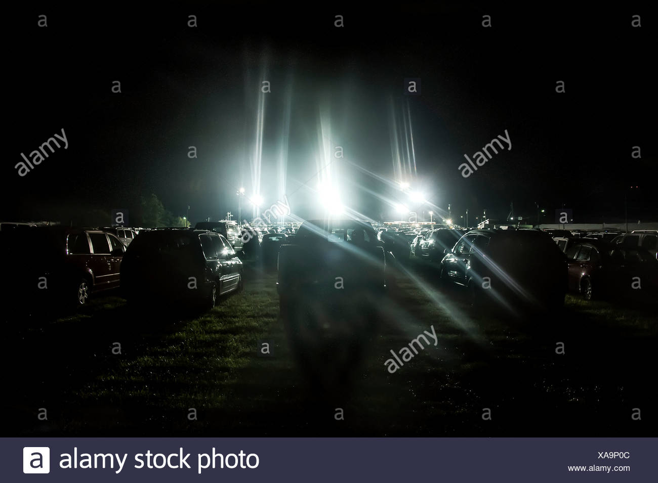 Cars parked in a grass field for evening rodeo event, Cowtown, New Jersey, USA - Stock Image