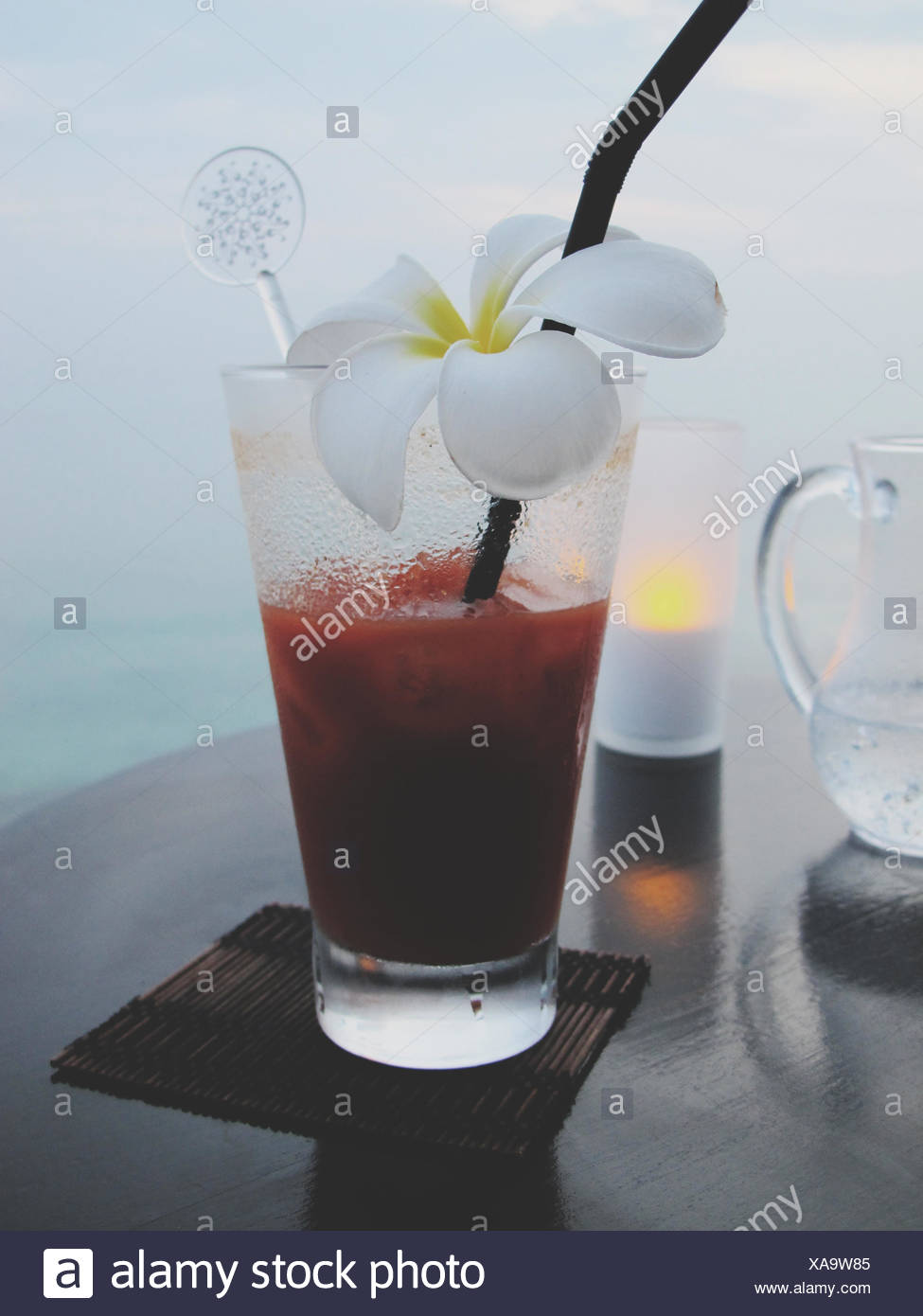 Fresh Margarita Decorated With White Flower - Stock Image