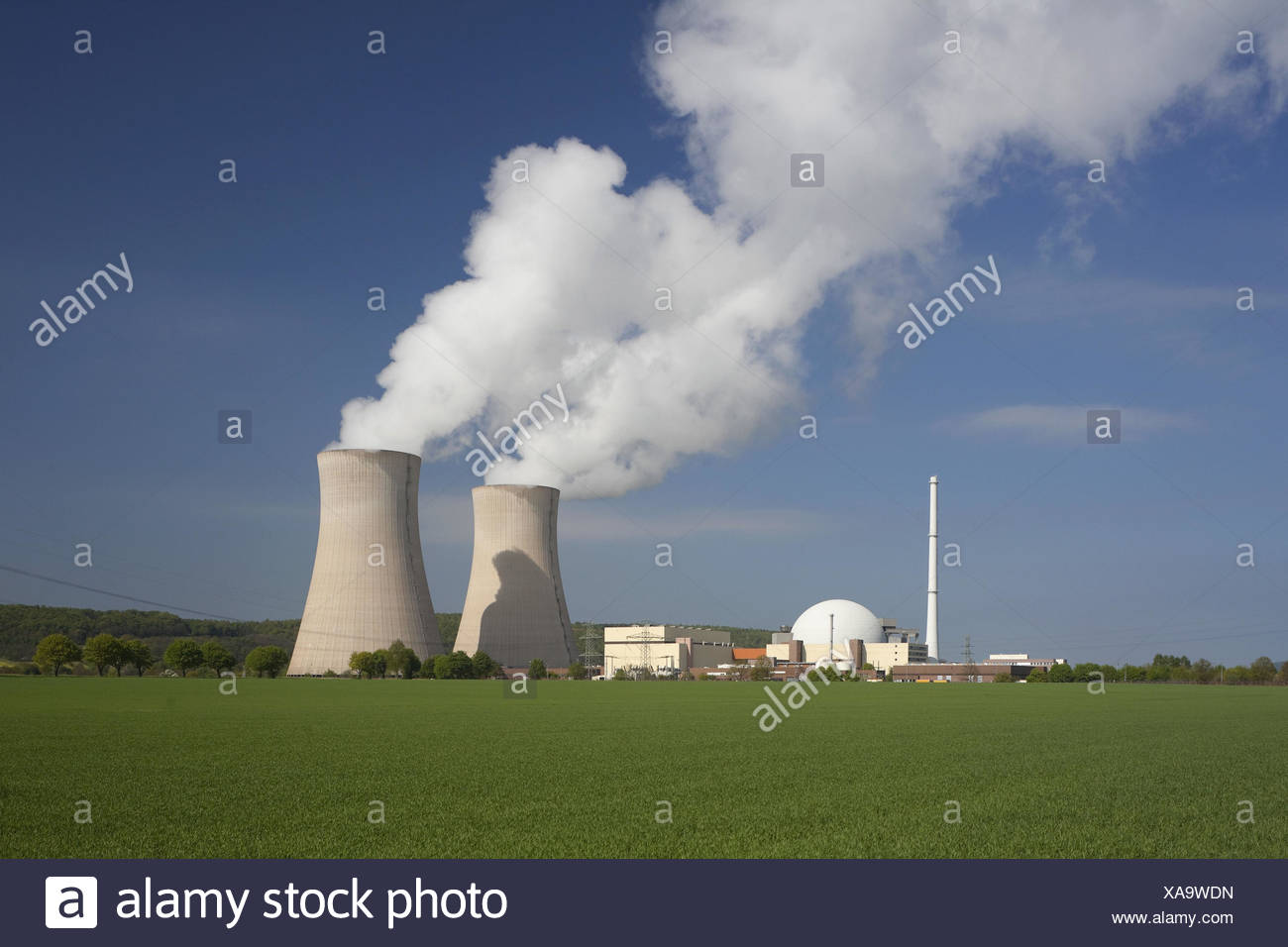 Germany, Lower Saxony, nuclear power plant Grohnde on the Weser, - Stock Image