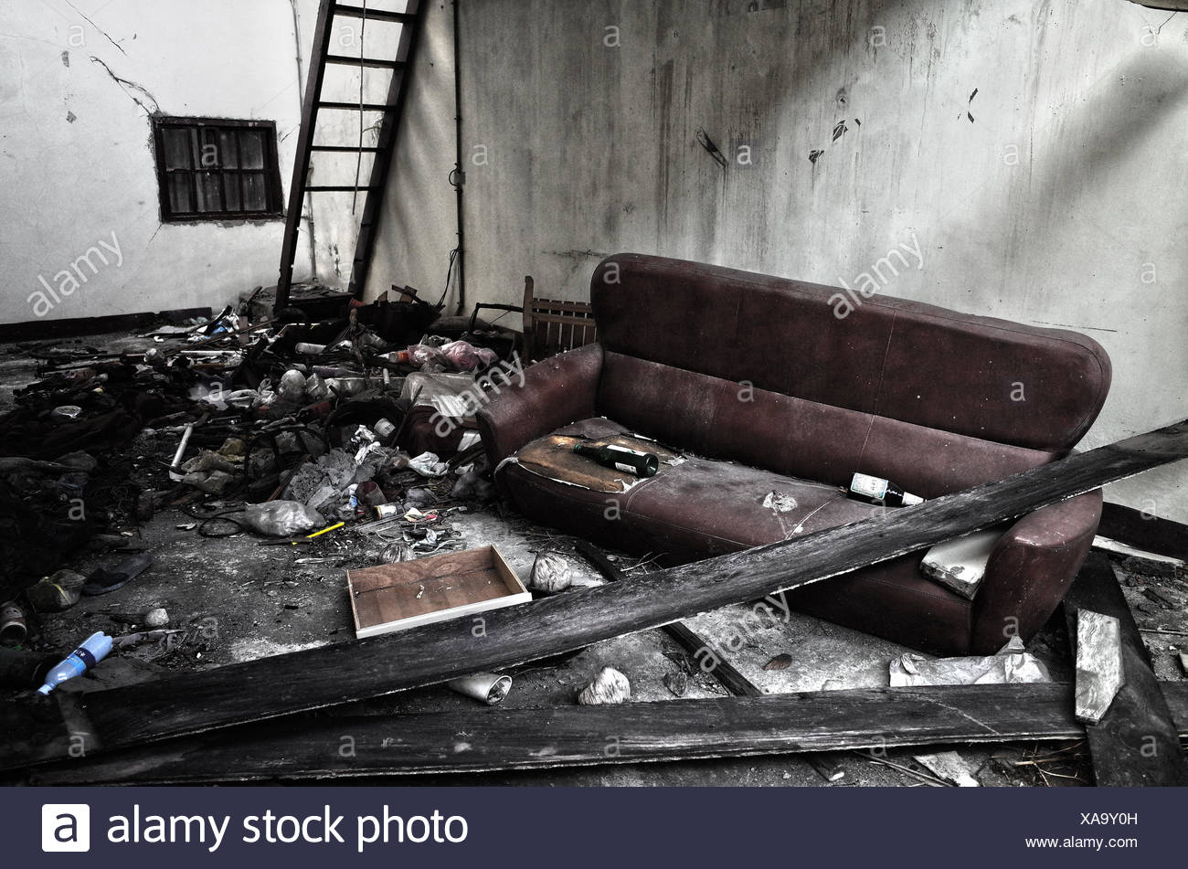 Messy Room In Abandoned House - Stock Image