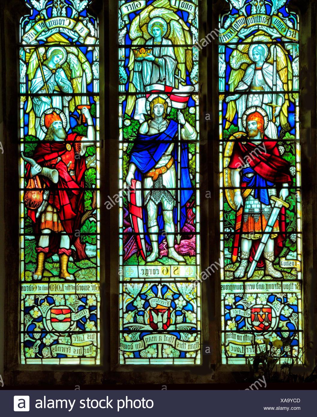 Joshua, St. George, Gideon, stained glass window, All Saints church, Warham, Norfolk, England, UK - Stock Image