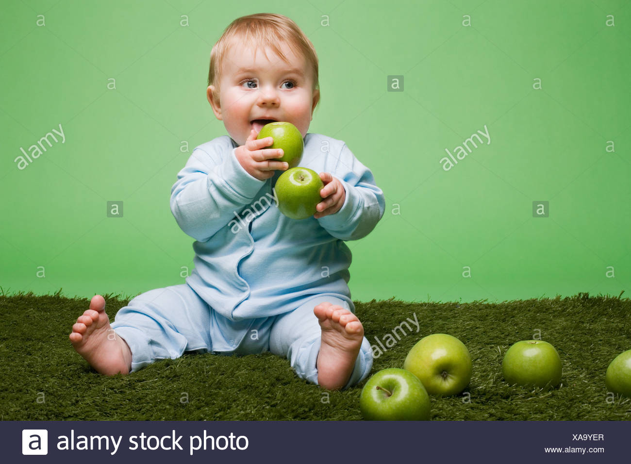 Baby boy eating apples - Stock Image