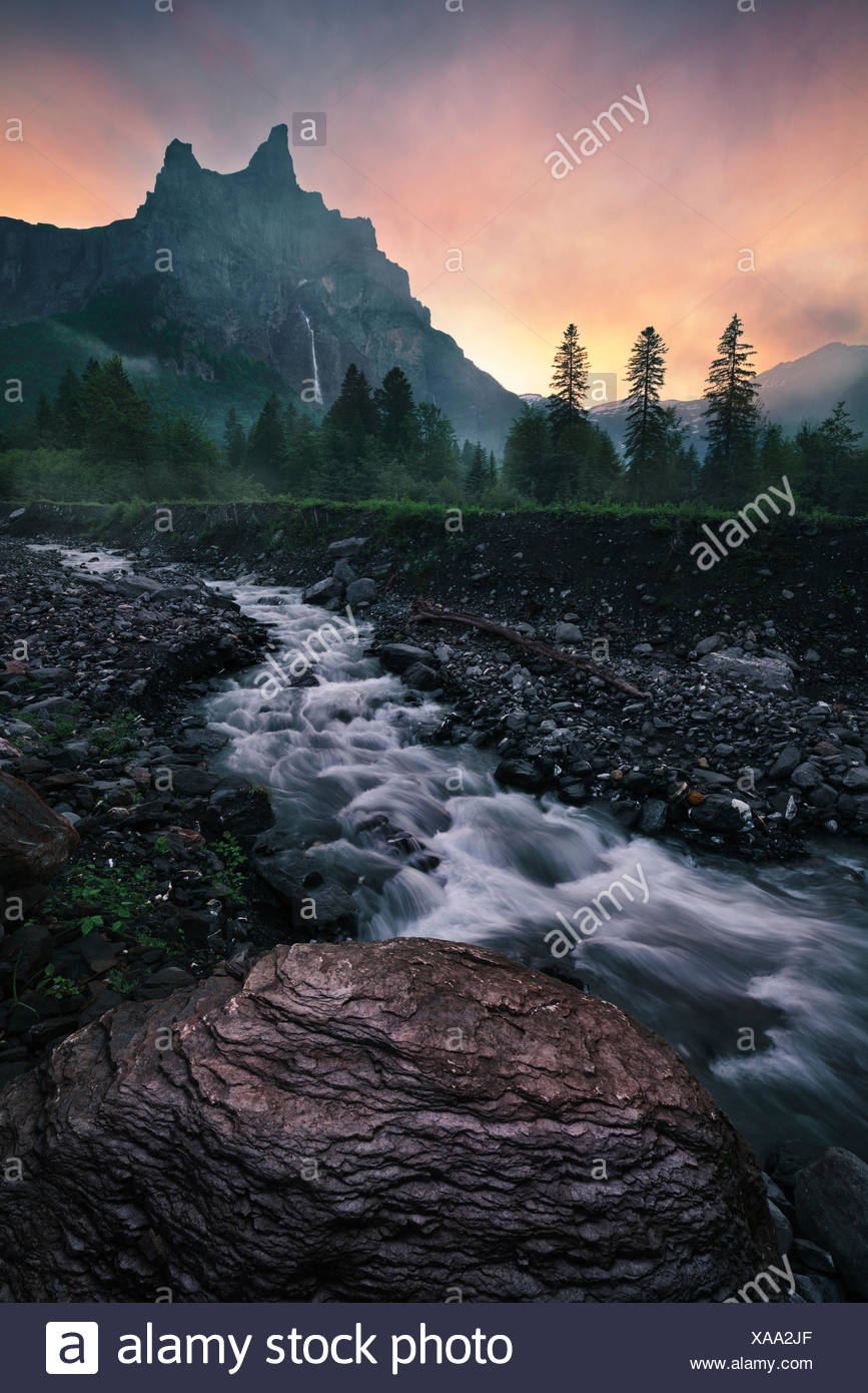 Alps, brook, mountains, flowers, trees, gloomy, fantasy, - Stock Image