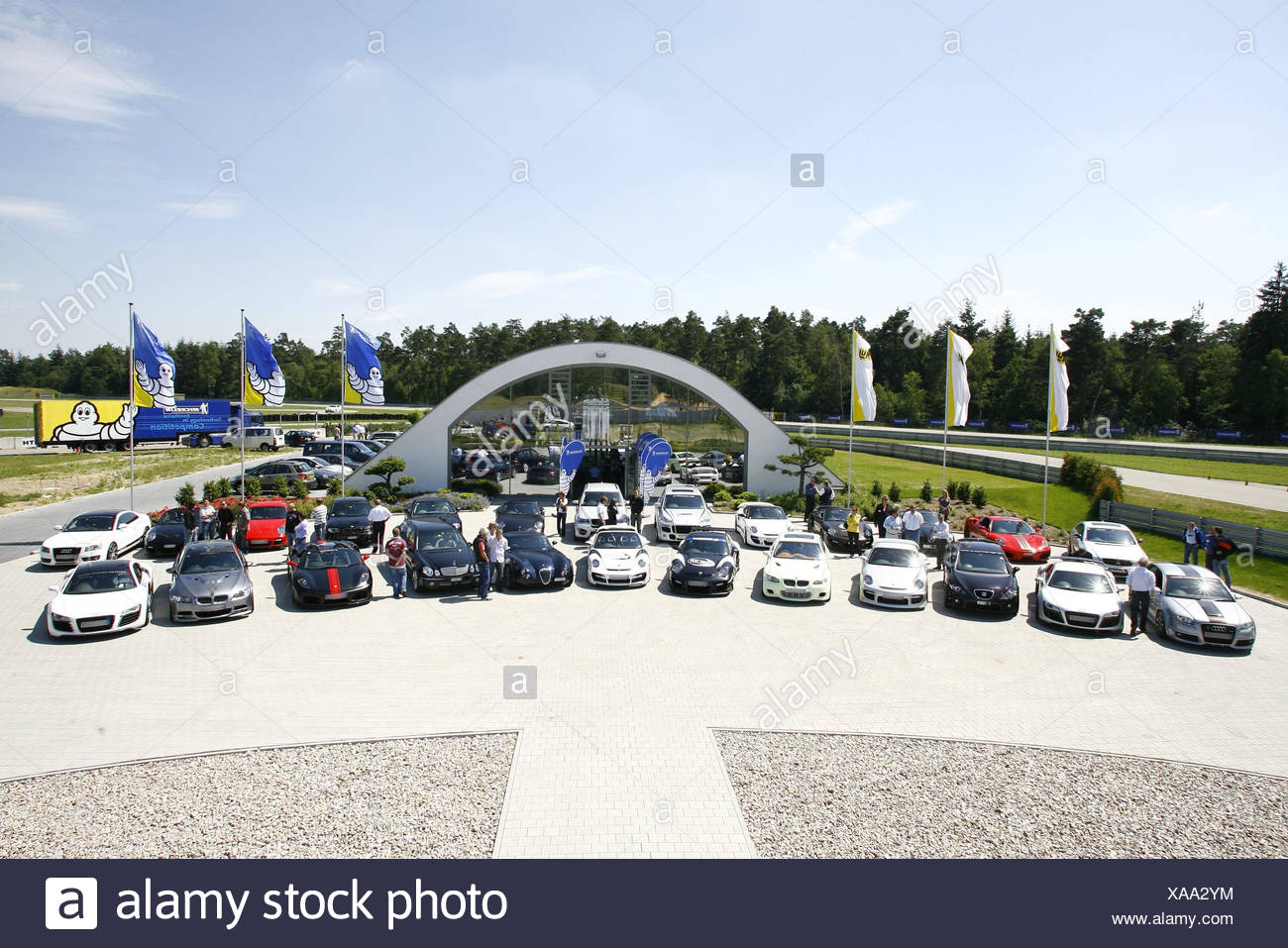 Parking lot, sports cars, mood cars, sports cars, meetings, cars, vehicles, sportily, HP, mood, luxury, expensive, - Stock Image