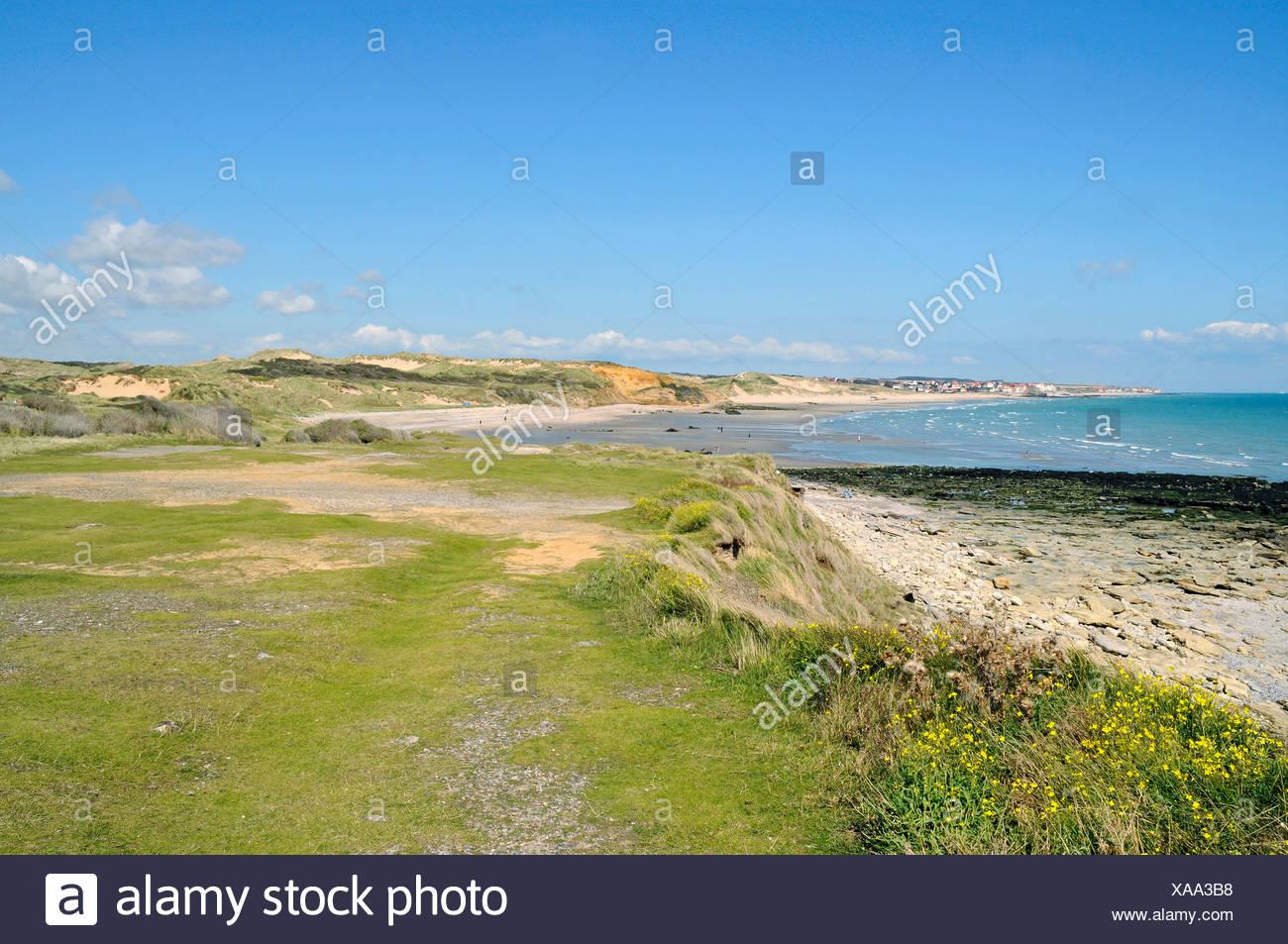 Dunes, ocean, landscape, coast, Dunes de la Slack, Wimereux, Boulogne sur Mer, Opal coast, Nord Pas de Calais, France, Europe - Stock Image