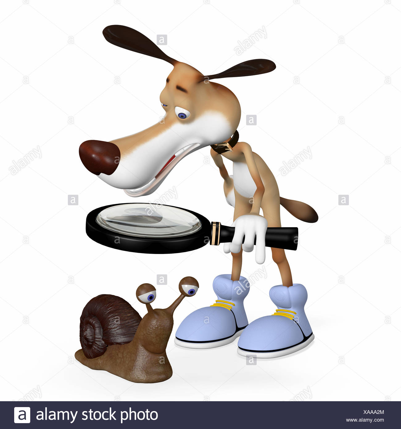 Illustration. The dog examines a mushroom. - Stock Image