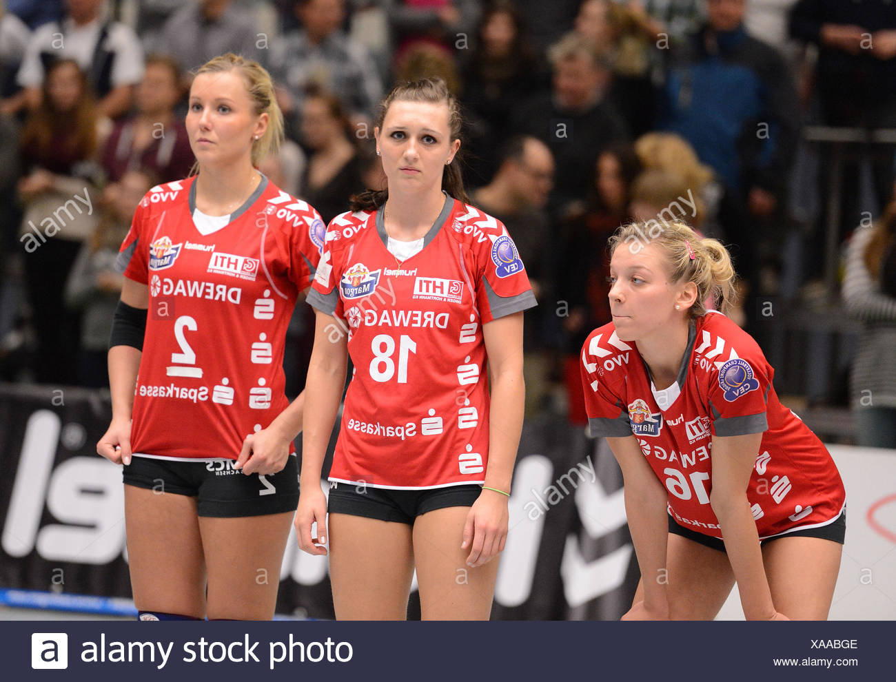 Unhappy Dresdner SC Girls after the Match - Stock Image