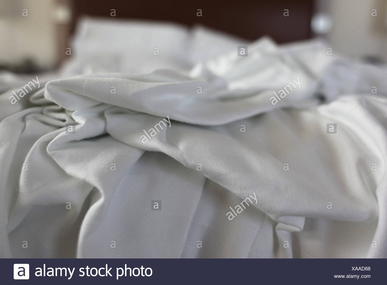 Sheets, folded, in a mess, morning, dreams, bed, sheet, no people, - Stock Image