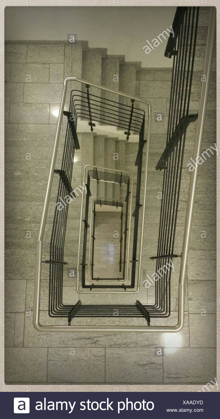High Angle View Of Stairs And Hand Rails Stock Photo